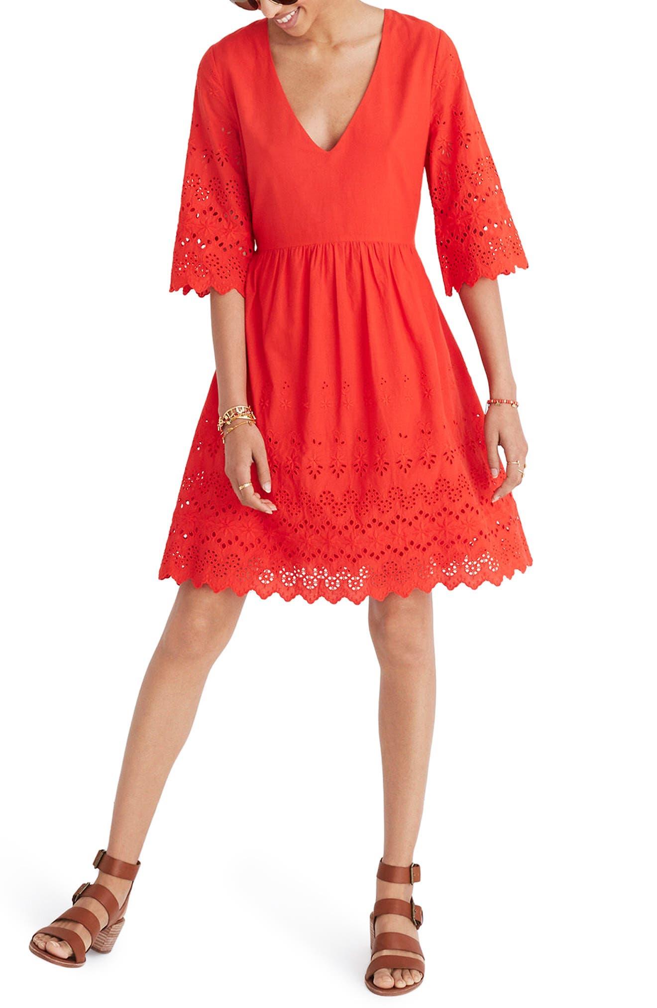 Eyelet Lattice Dress,                             Main thumbnail 1, color,                             Bright Poppy