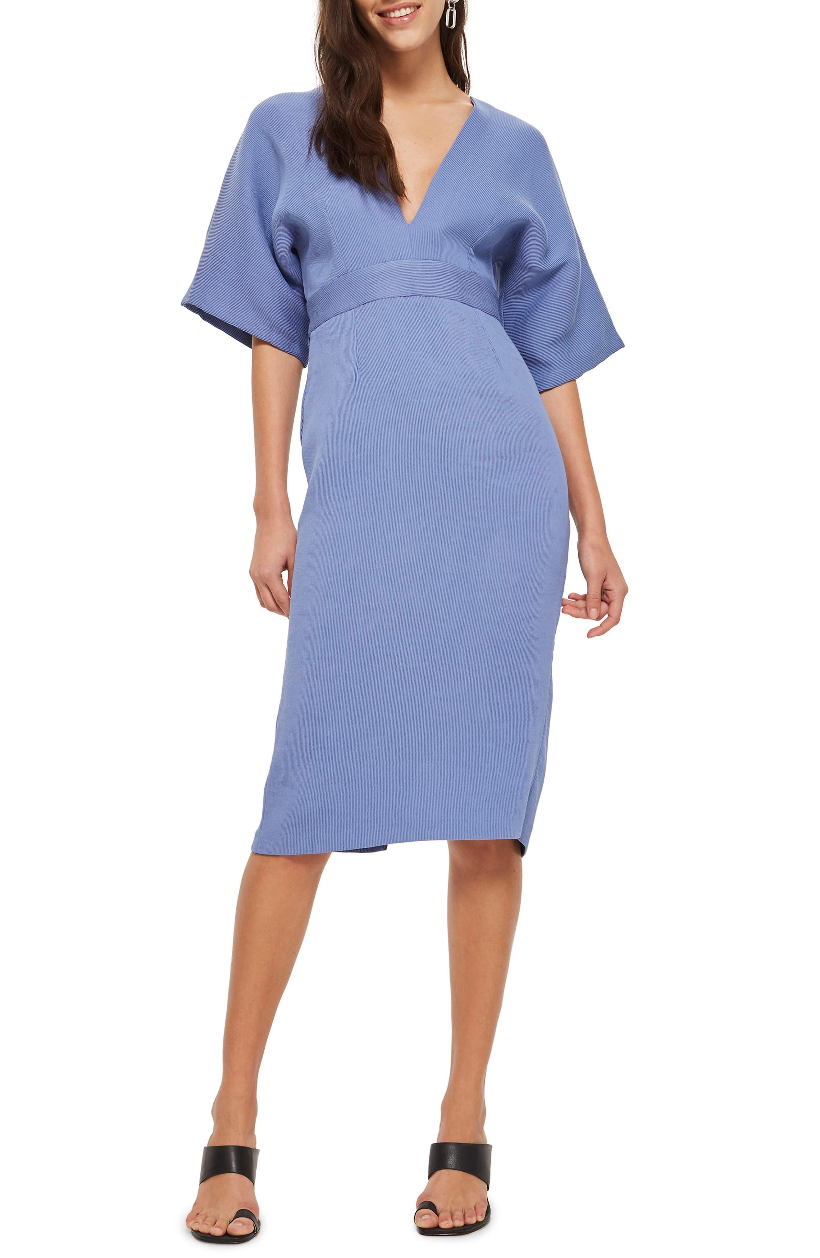 Text V-Plunge Midi Dress,                         Main,                         color, Light Blue