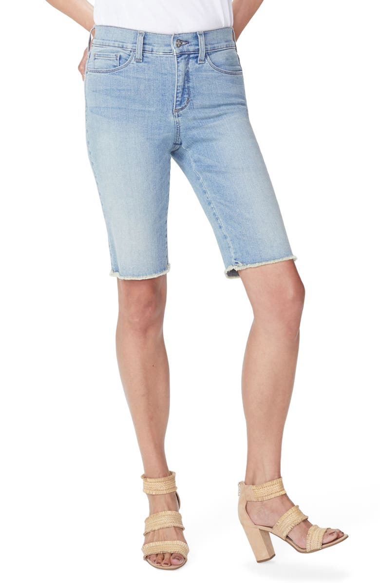 Briella Frayed Hem Denim Bermuda Shorts
