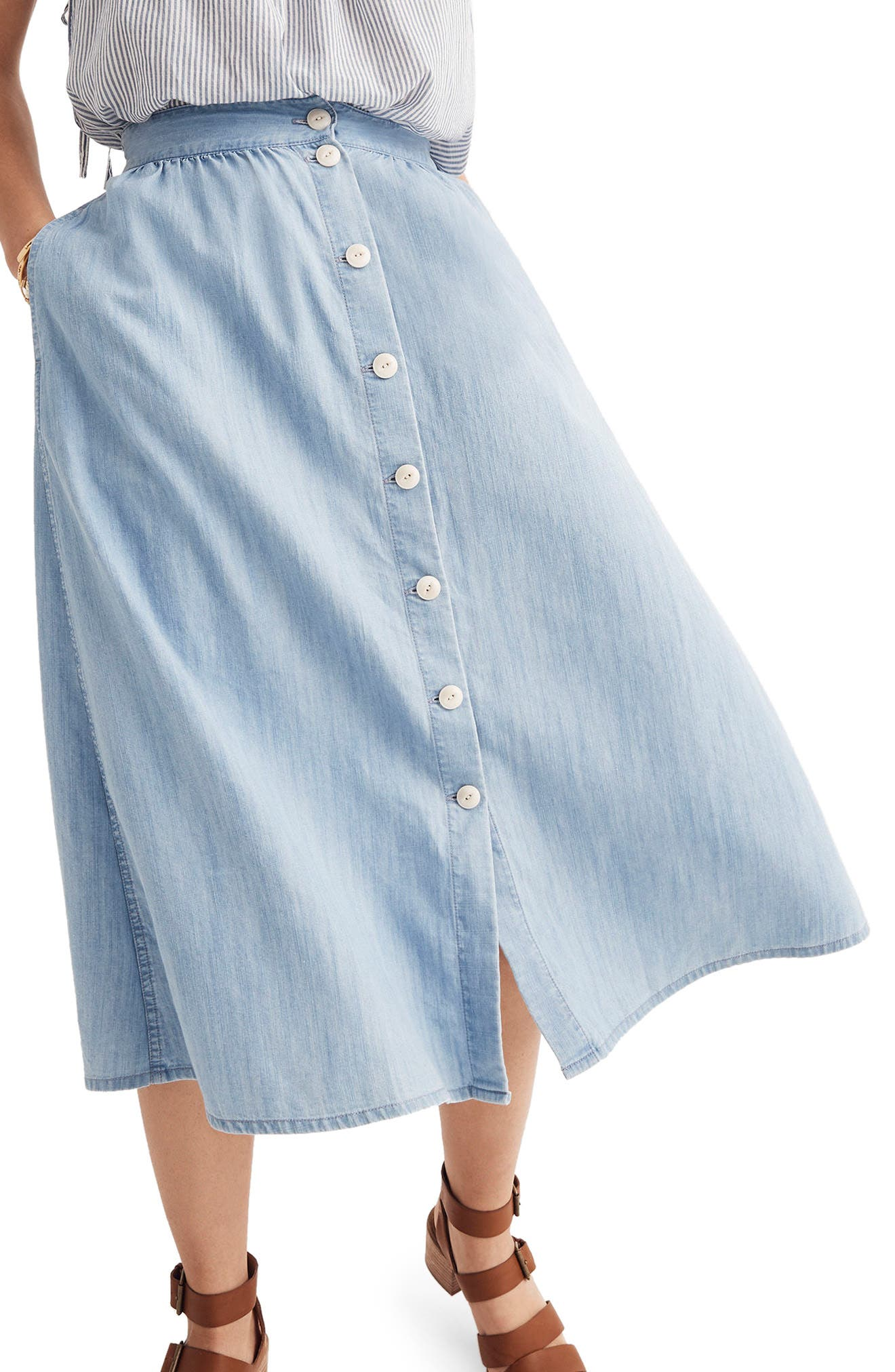 Button Front Midi Skirt,                             Alternate thumbnail 3, color,                             Altamira Wash