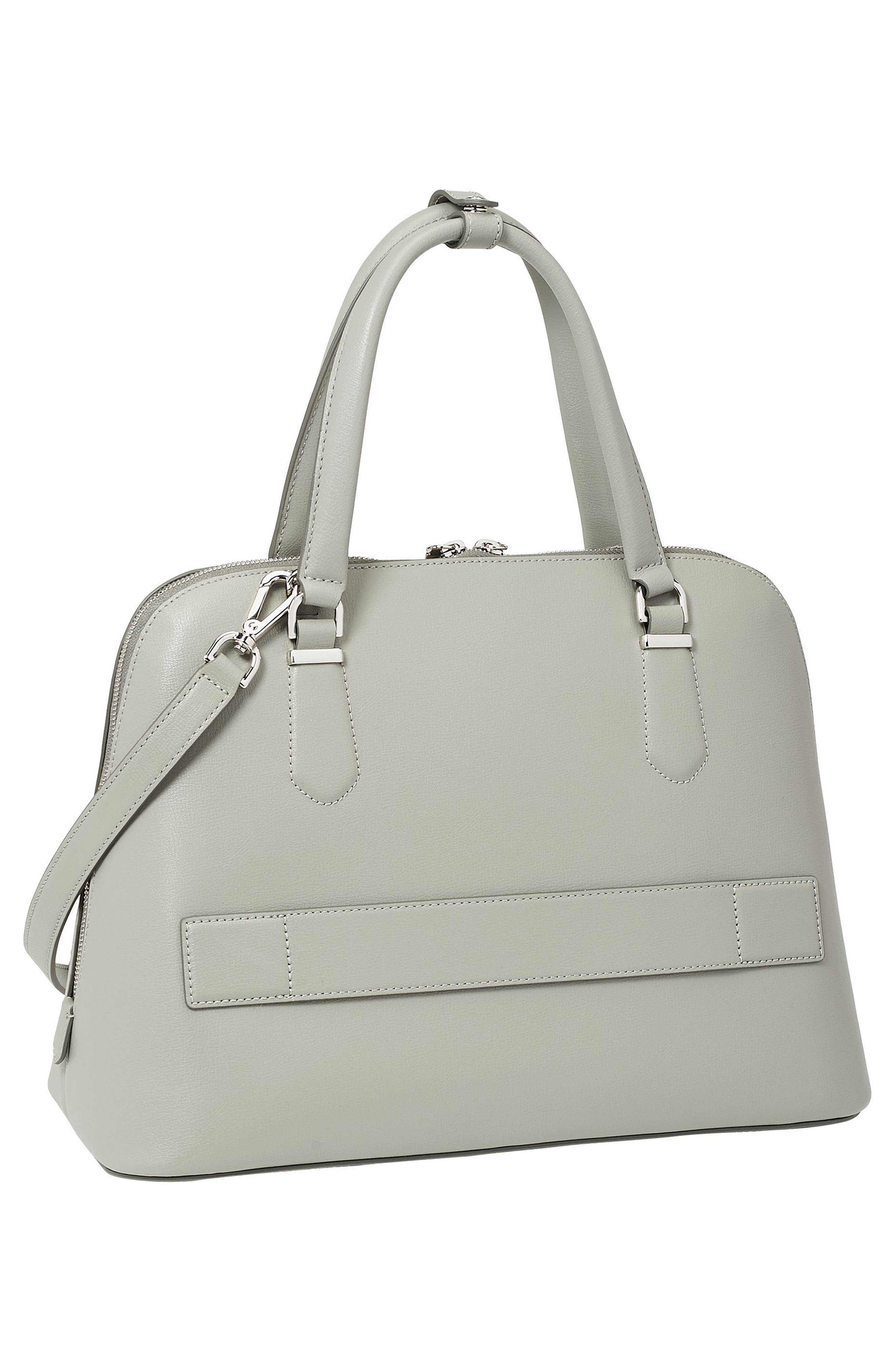 Stanton – Deonne Domed Leather Satchel,                             Alternate thumbnail 3, color,                             Light Grey