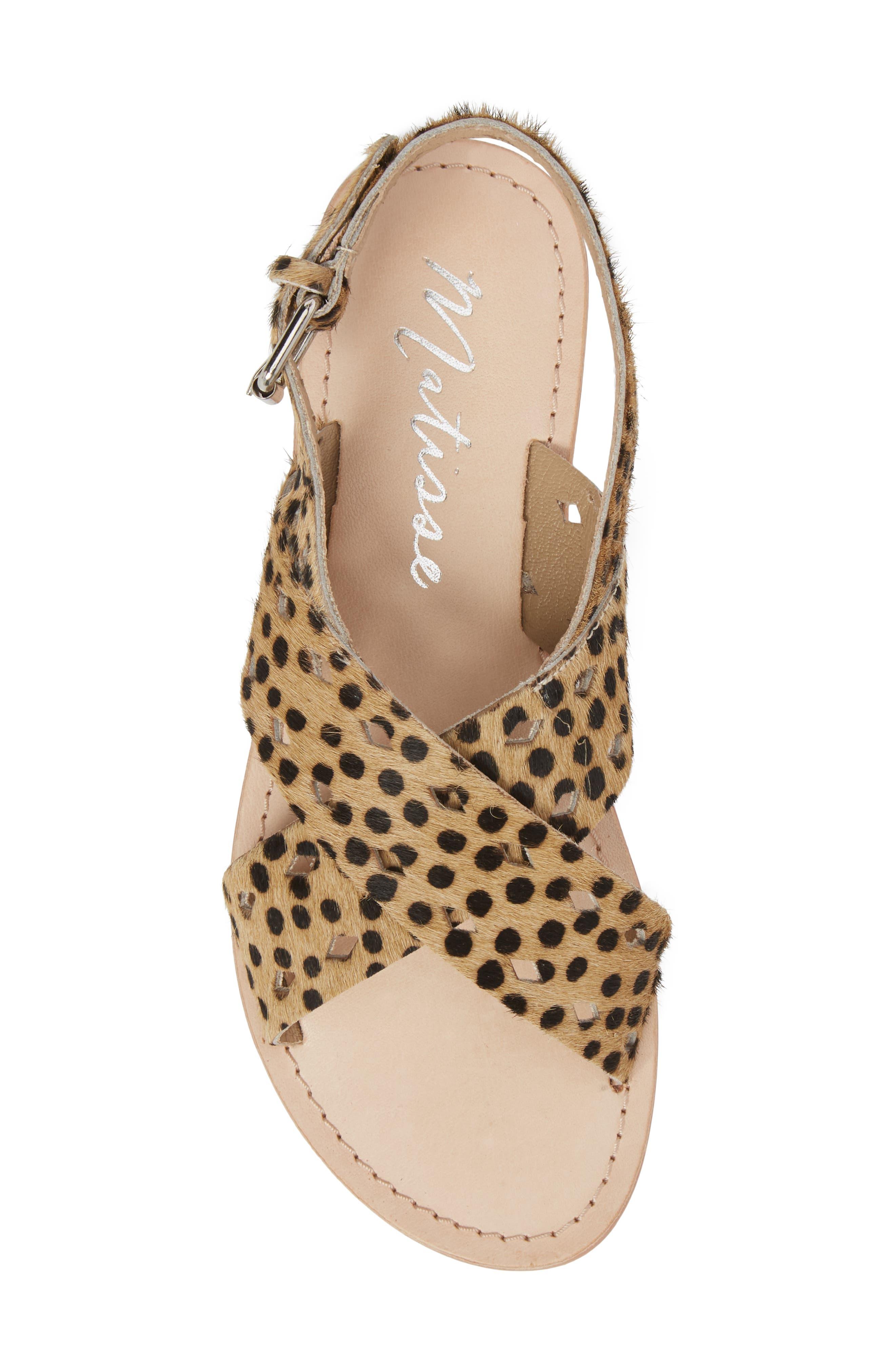 Whistler Genuine Calf Hair Sandal,                             Alternate thumbnail 5, color,                             Leopard