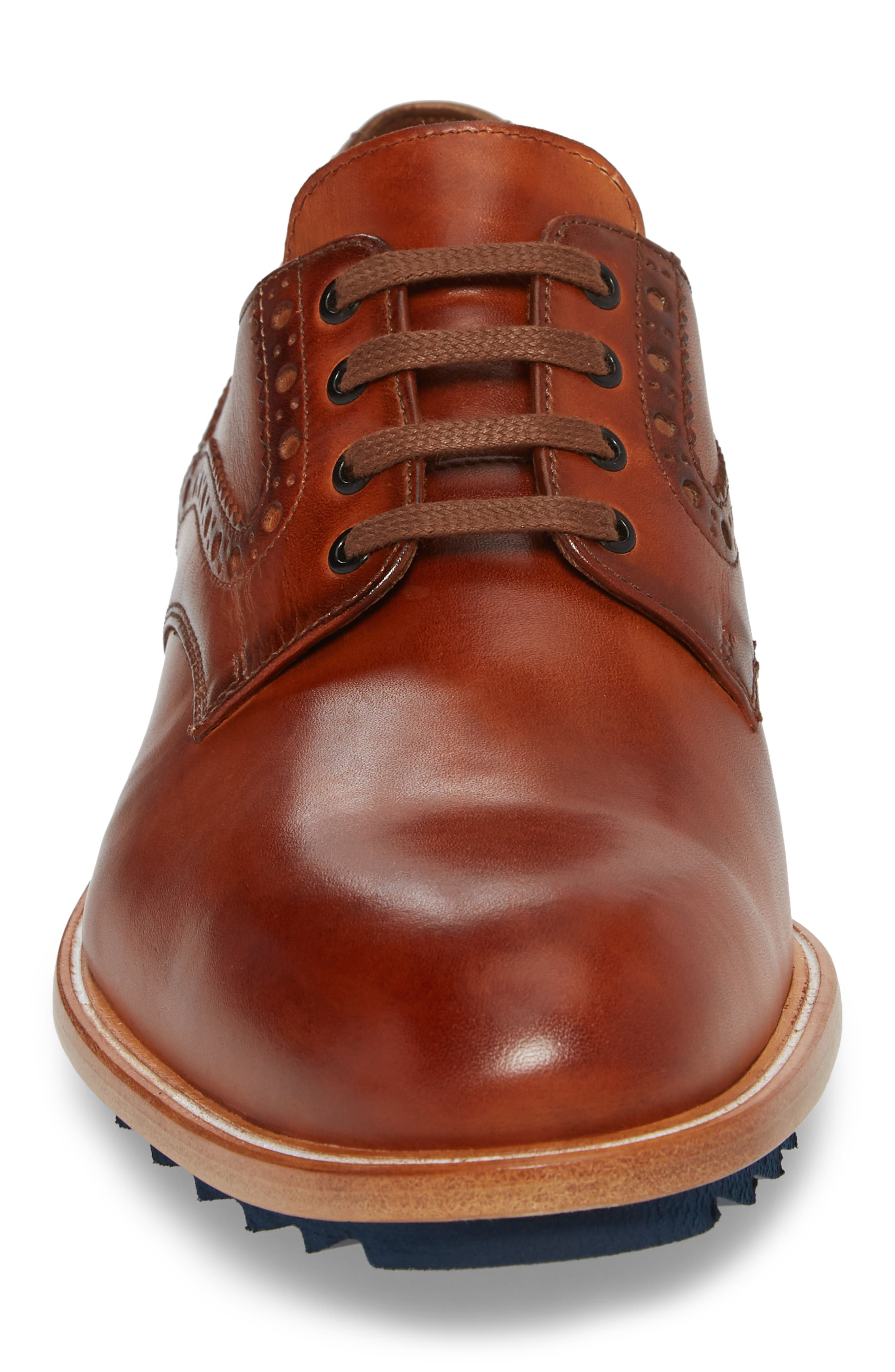 Fabian Plain Toe Derby,                             Alternate thumbnail 4, color,                             Fox Brown Leather