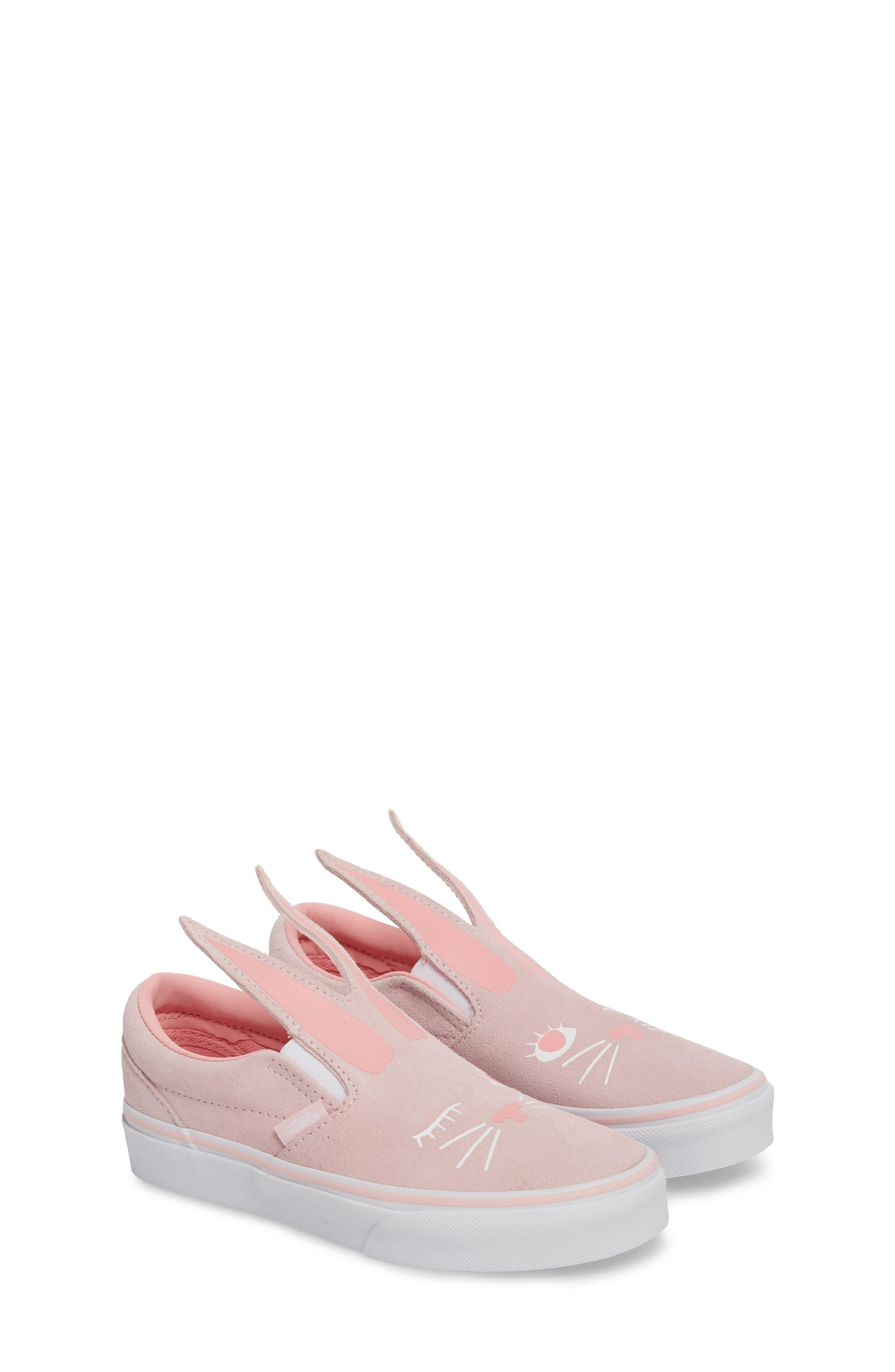 Slip-On Bunny Sneaker,                             Alternate thumbnail 3, color,                             Chalk Pink/ True White