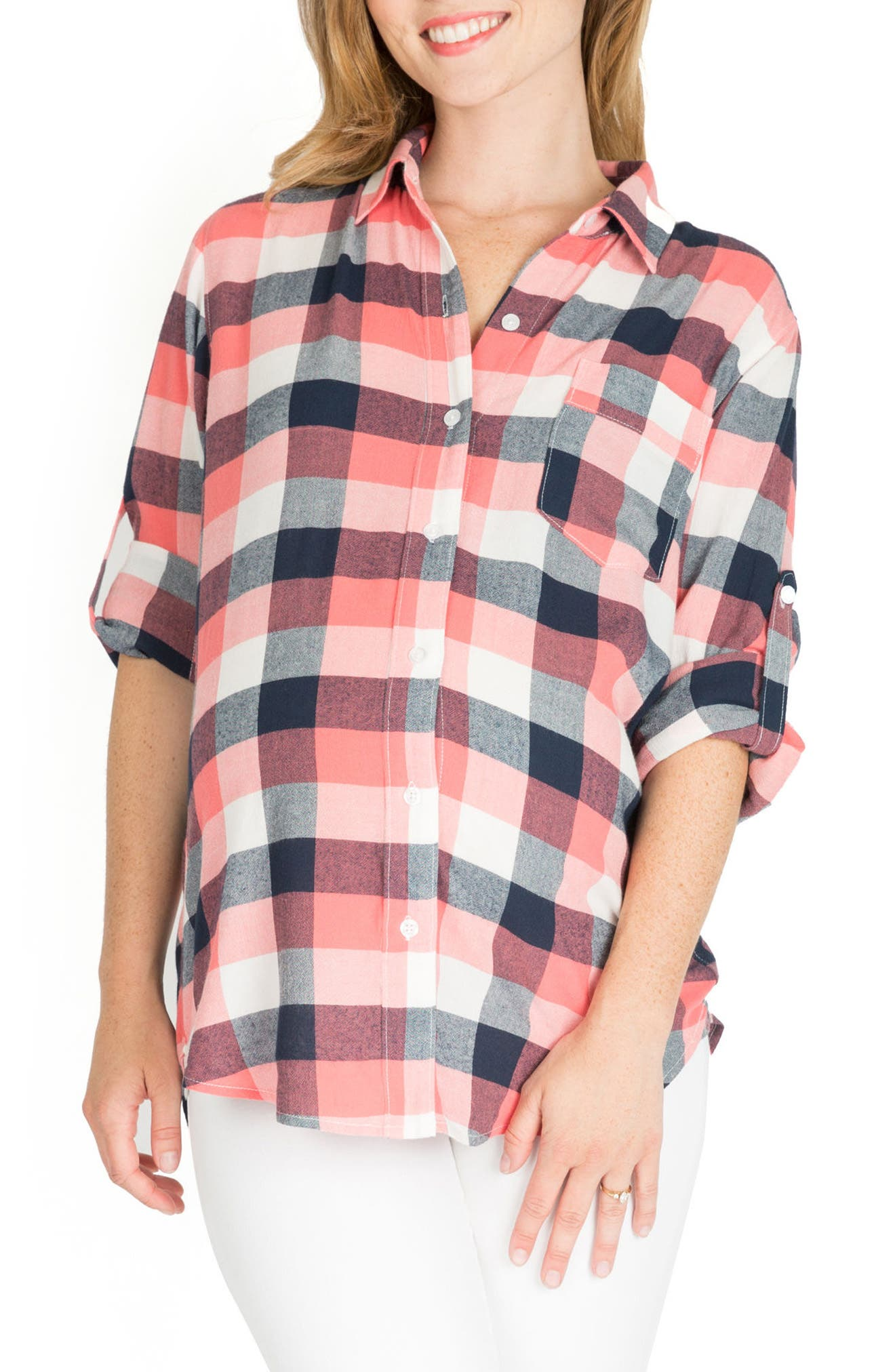 Sadie Maternity/Nursing Shirt,                             Main thumbnail 1, color,                             Pink Plaid