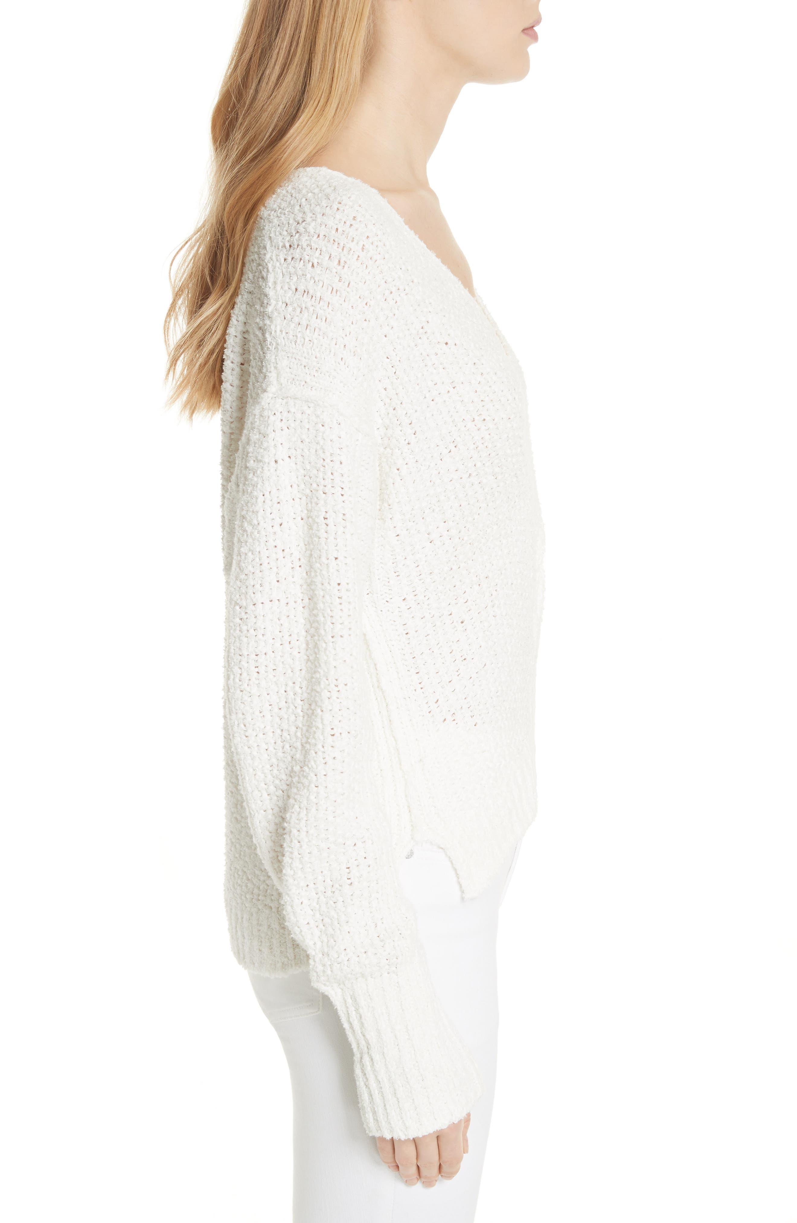 Coco V-Neck Sweater,                             Alternate thumbnail 3, color,                             White