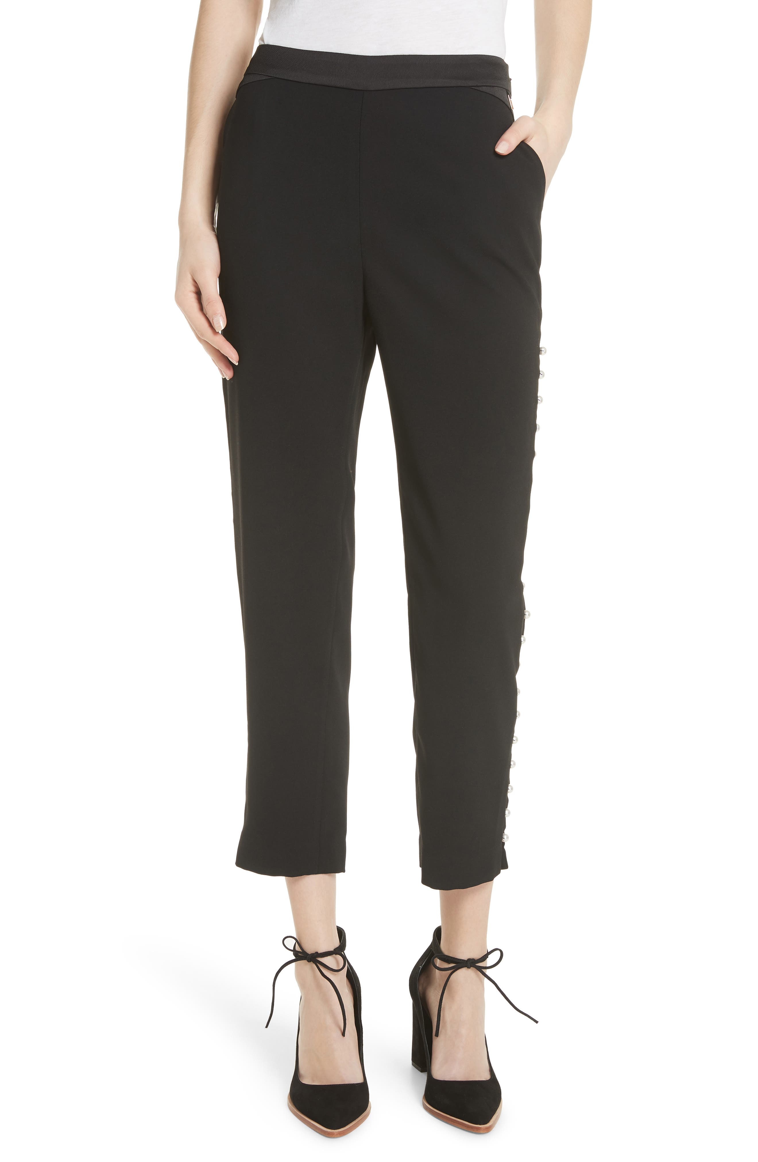Button Trim Jogger Pants,                             Main thumbnail 1, color,                             Black