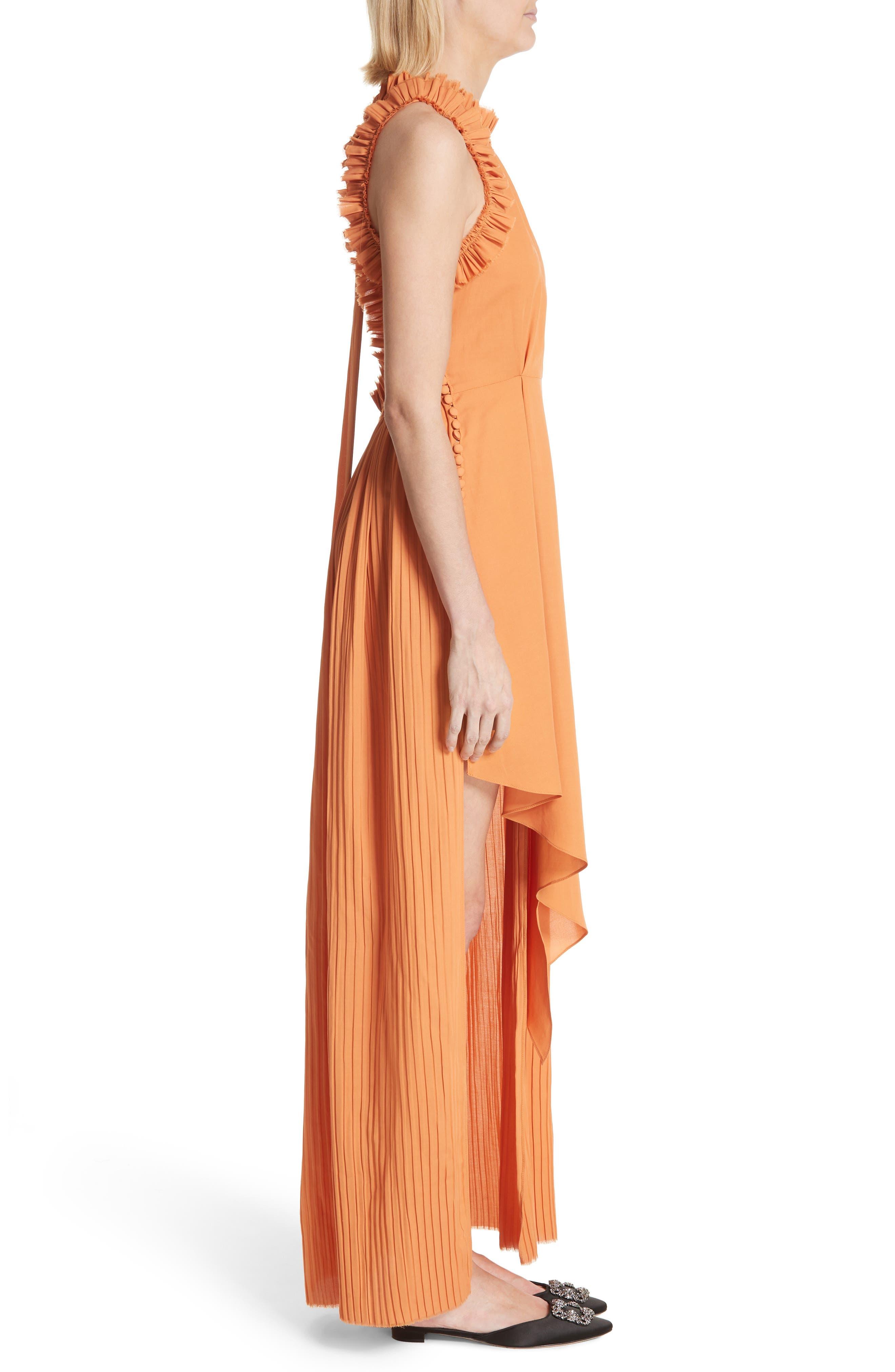 Asymmetrical Ruffle Trim Silk Blend Dress,                             Alternate thumbnail 3, color,                             Orange