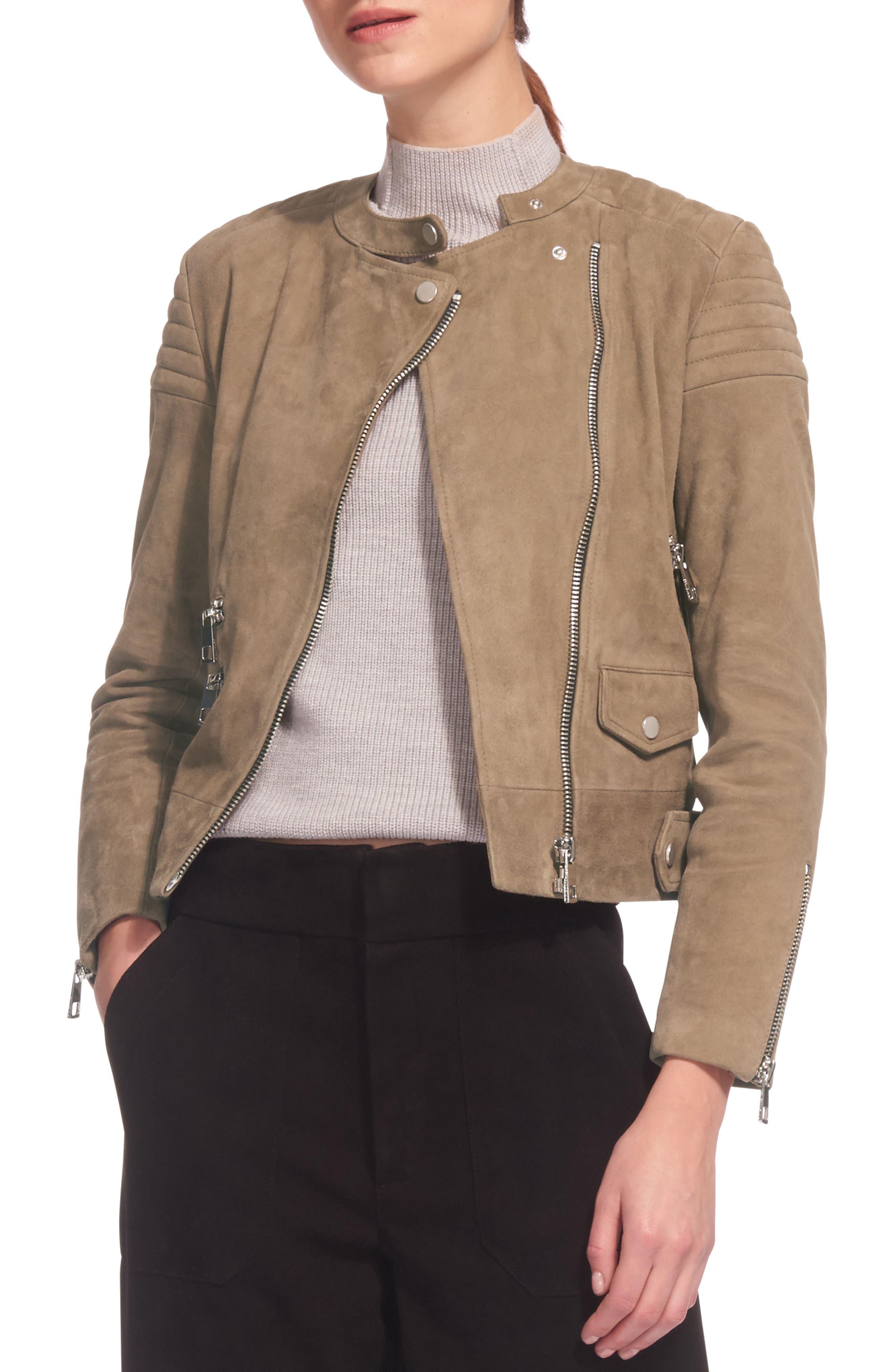 Collarless Suede Moto Jacket,                             Main thumbnail 1, color,                             Khaki