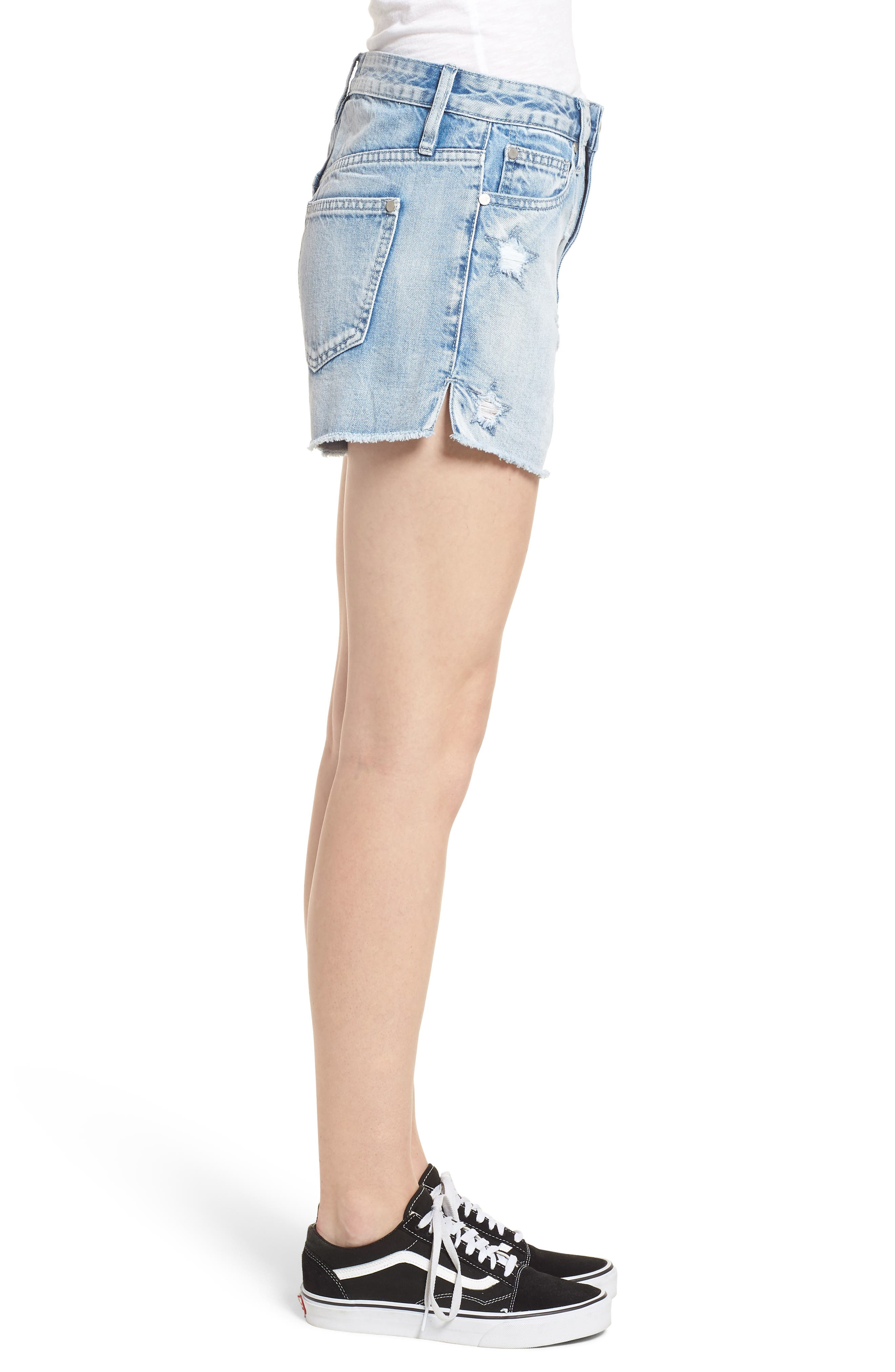 Acid Wash Star Denim Shorts,                             Alternate thumbnail 3, color,                             Super Light Acid