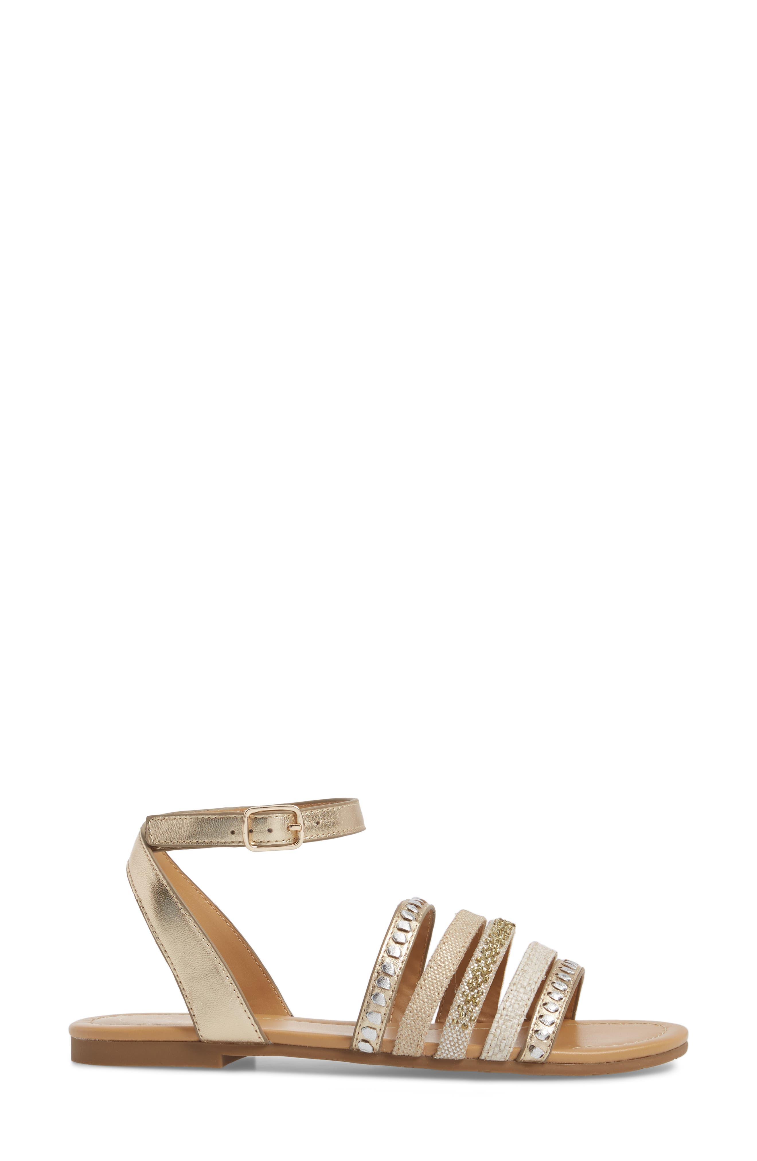 Hannah Braided Embellished Sandal,                             Alternate thumbnail 3, color,                             Platinum/ Silver Leather