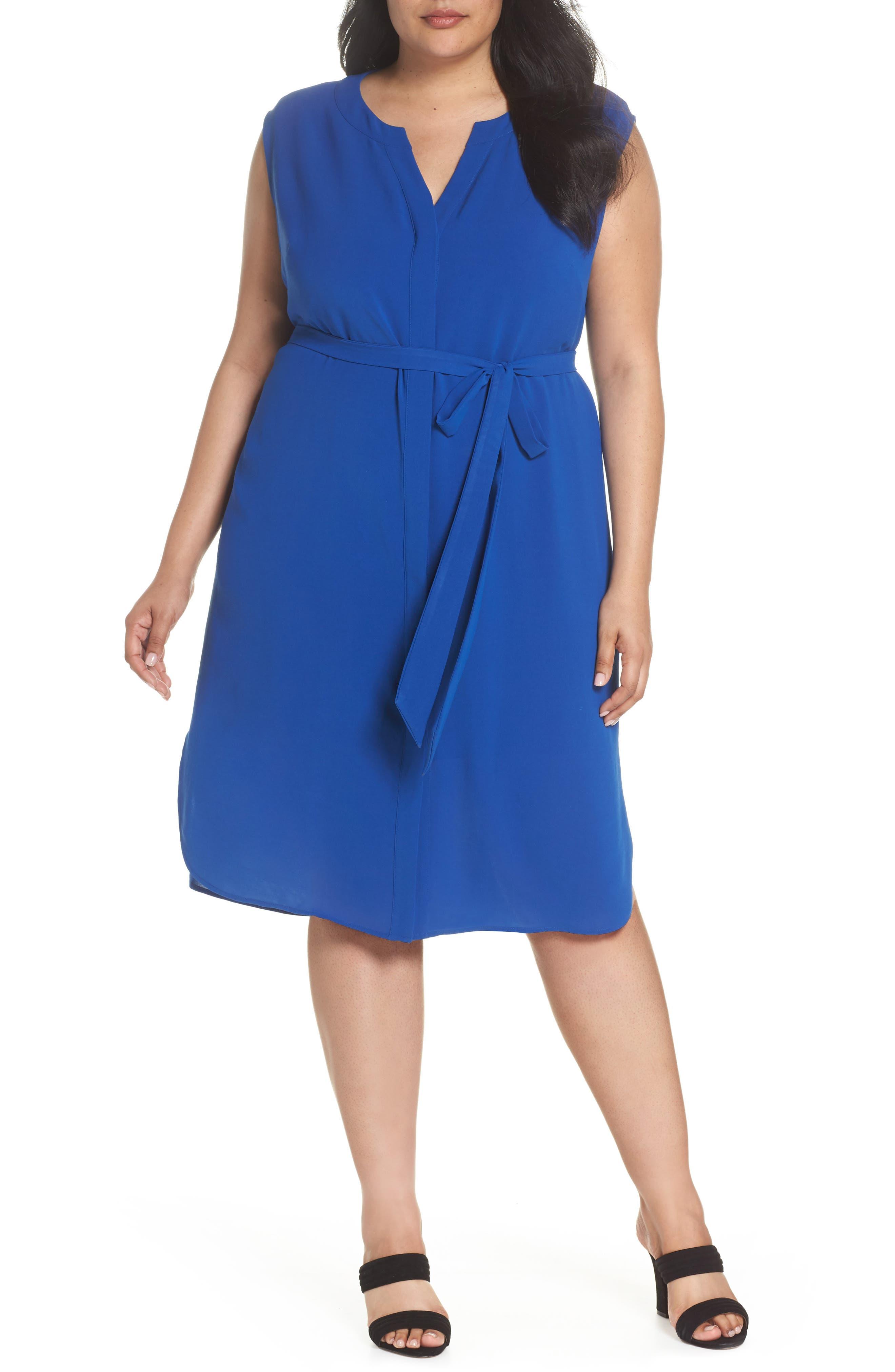 Gauzy Crepe Shirtdress,                         Main,                         color, Cobalt