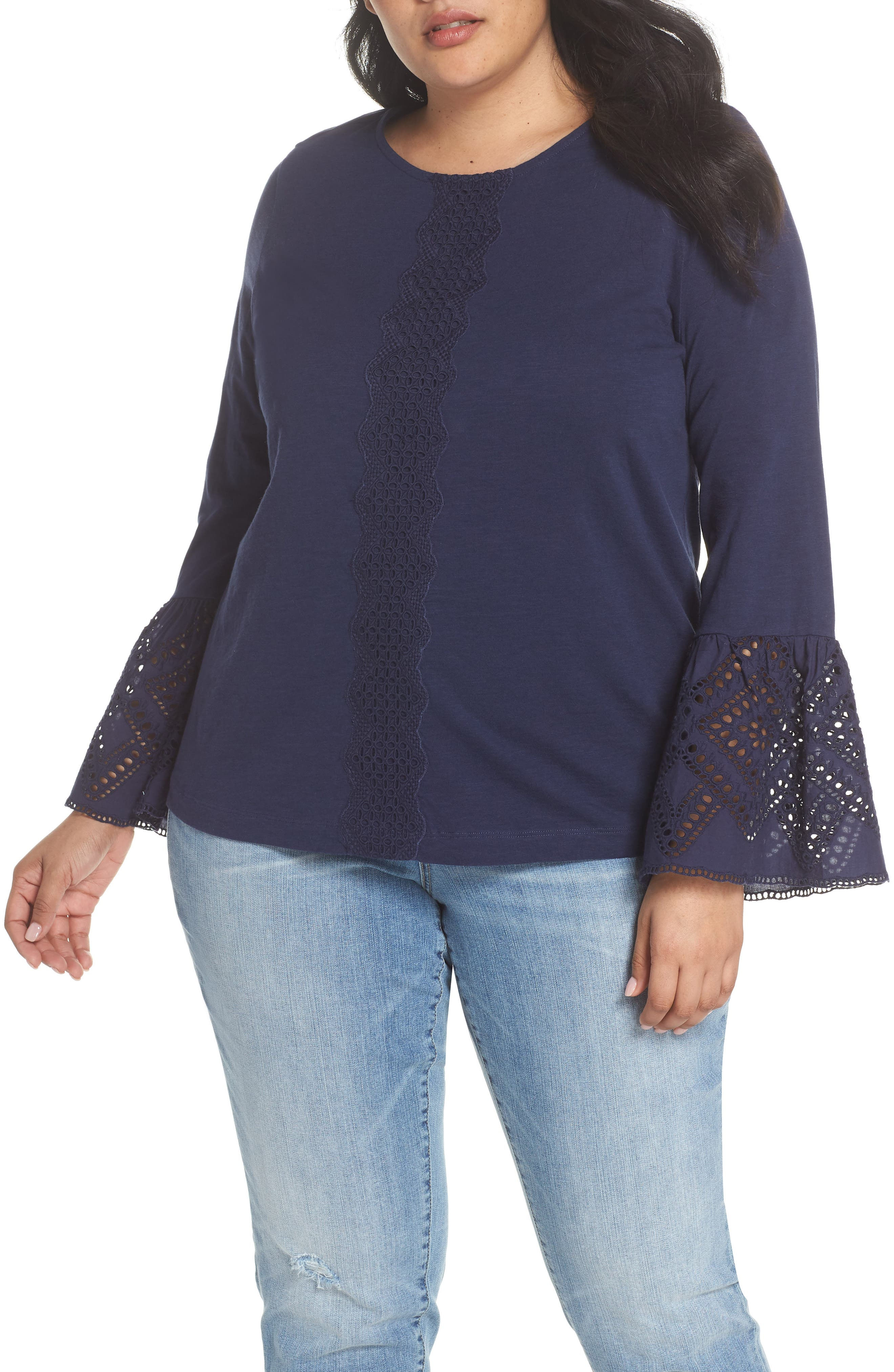 Eyelet Bell Sleeve Top,                         Main,                         color, Navy Peacoat