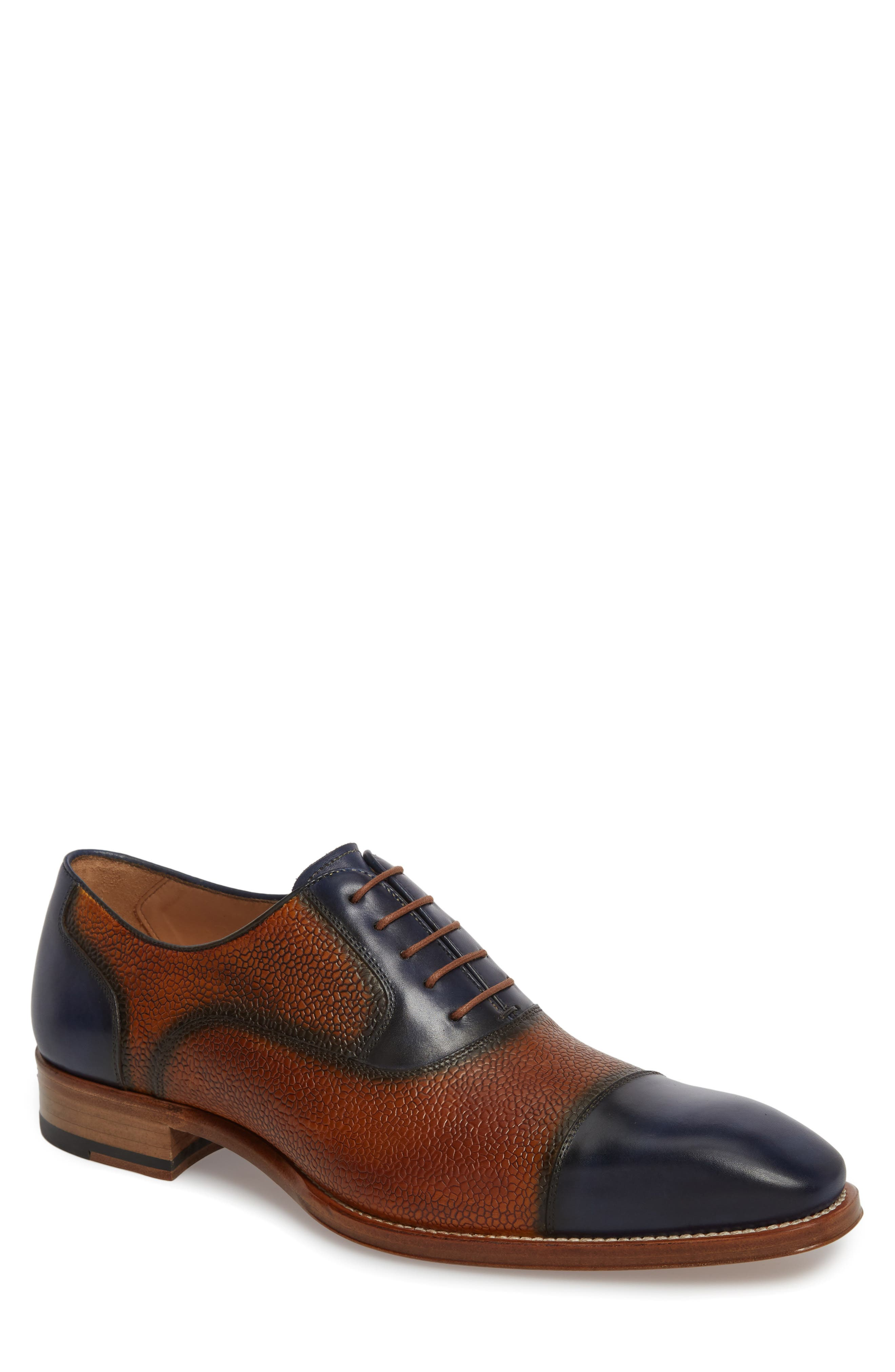 Verino Cap Toe Oxford,                             Main thumbnail 1, color,                             Blue/ Tan Leather