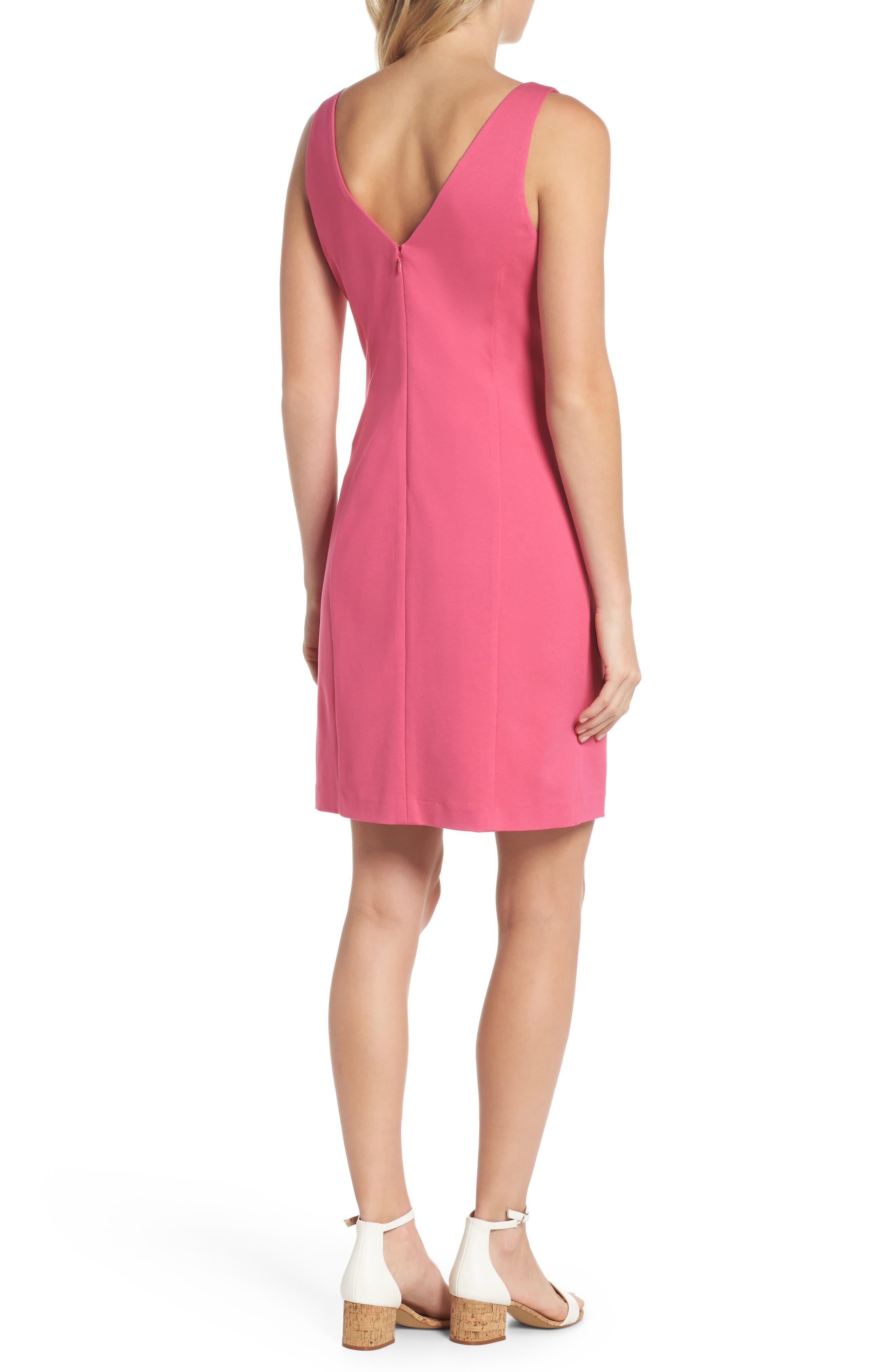 Embroidered V-Neck Shift Dress,                             Alternate thumbnail 2, color,                             Pink