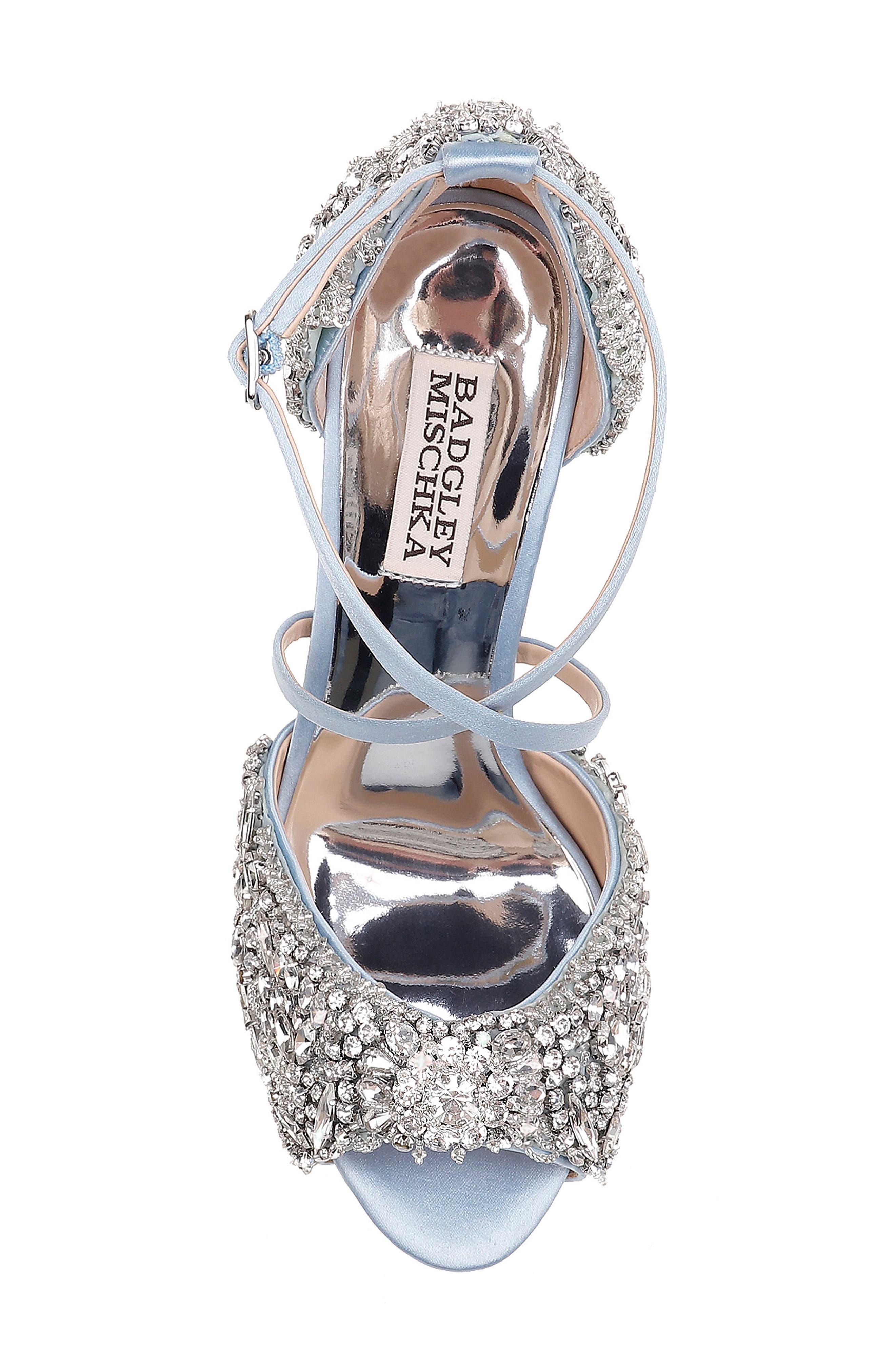 Hyper Crystal Embellished Sandal,                             Alternate thumbnail 5, color,                             Light Blue Satin