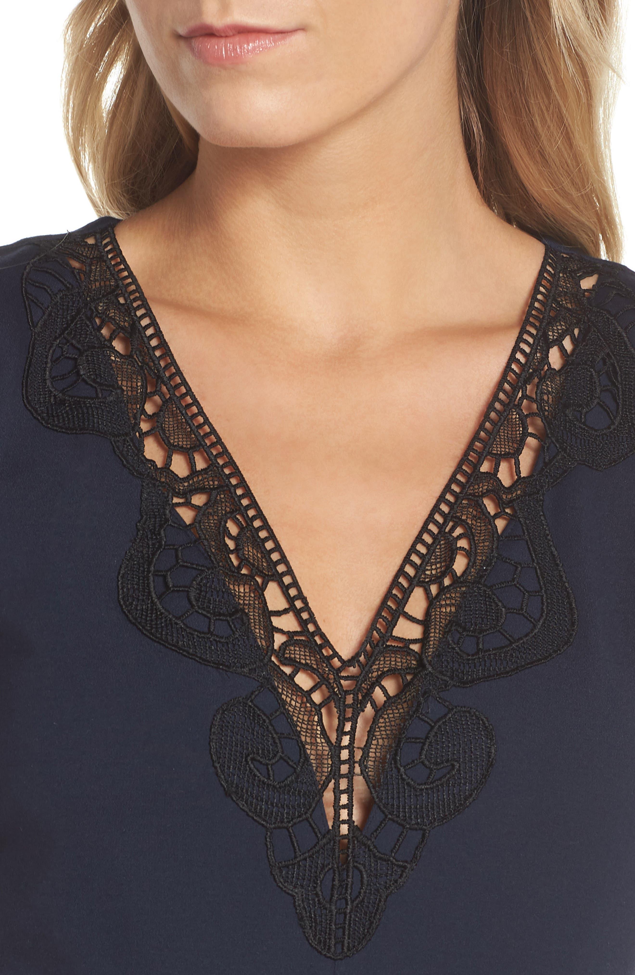 Hazel Lace Trim V-Neck Dress,                             Alternate thumbnail 4, color,                             Midnight Blue/ Black