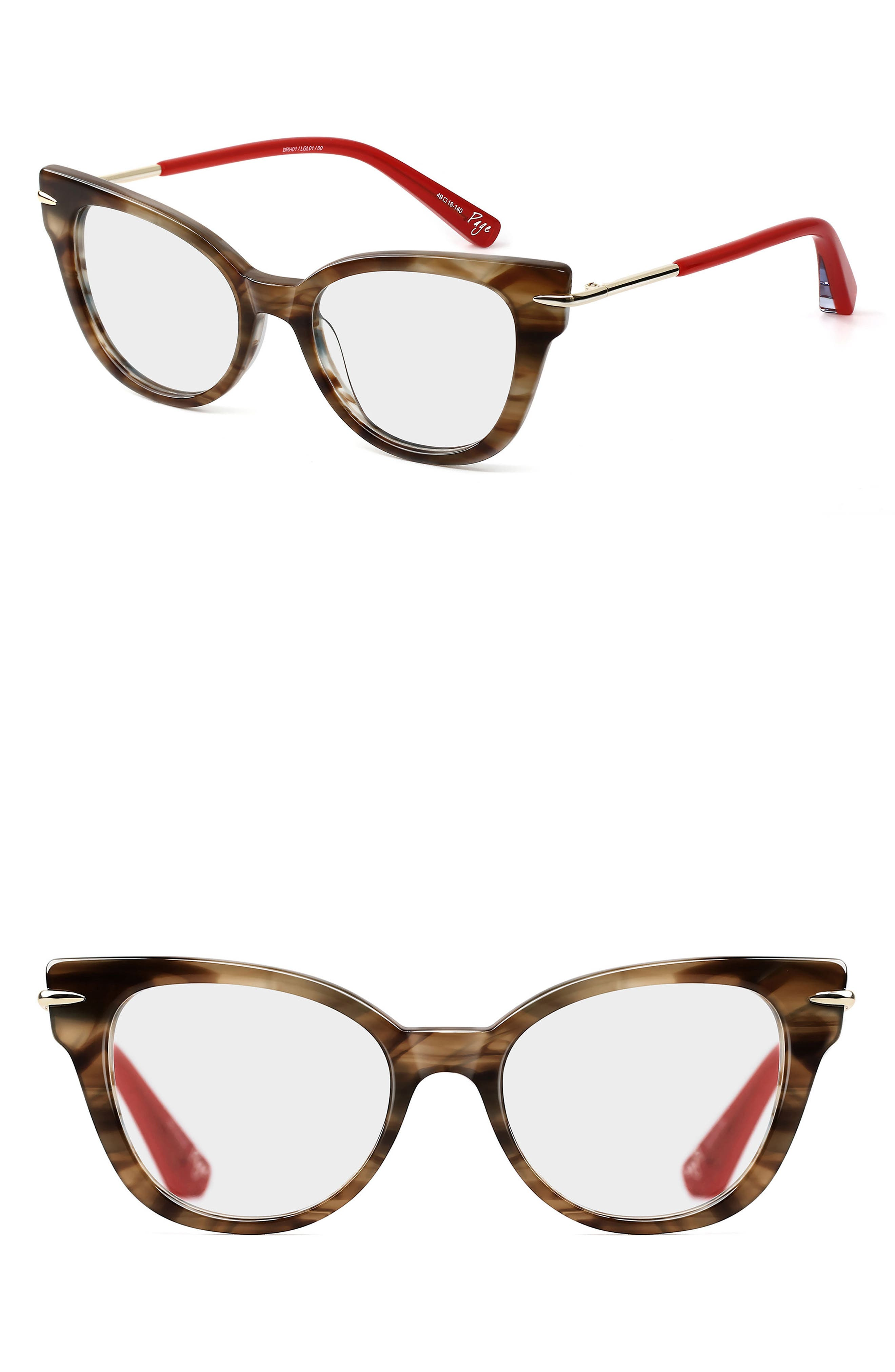 Page 49mm Cat Eye Optical Glasses,                         Main,                         color, Brown/ Ink Horn