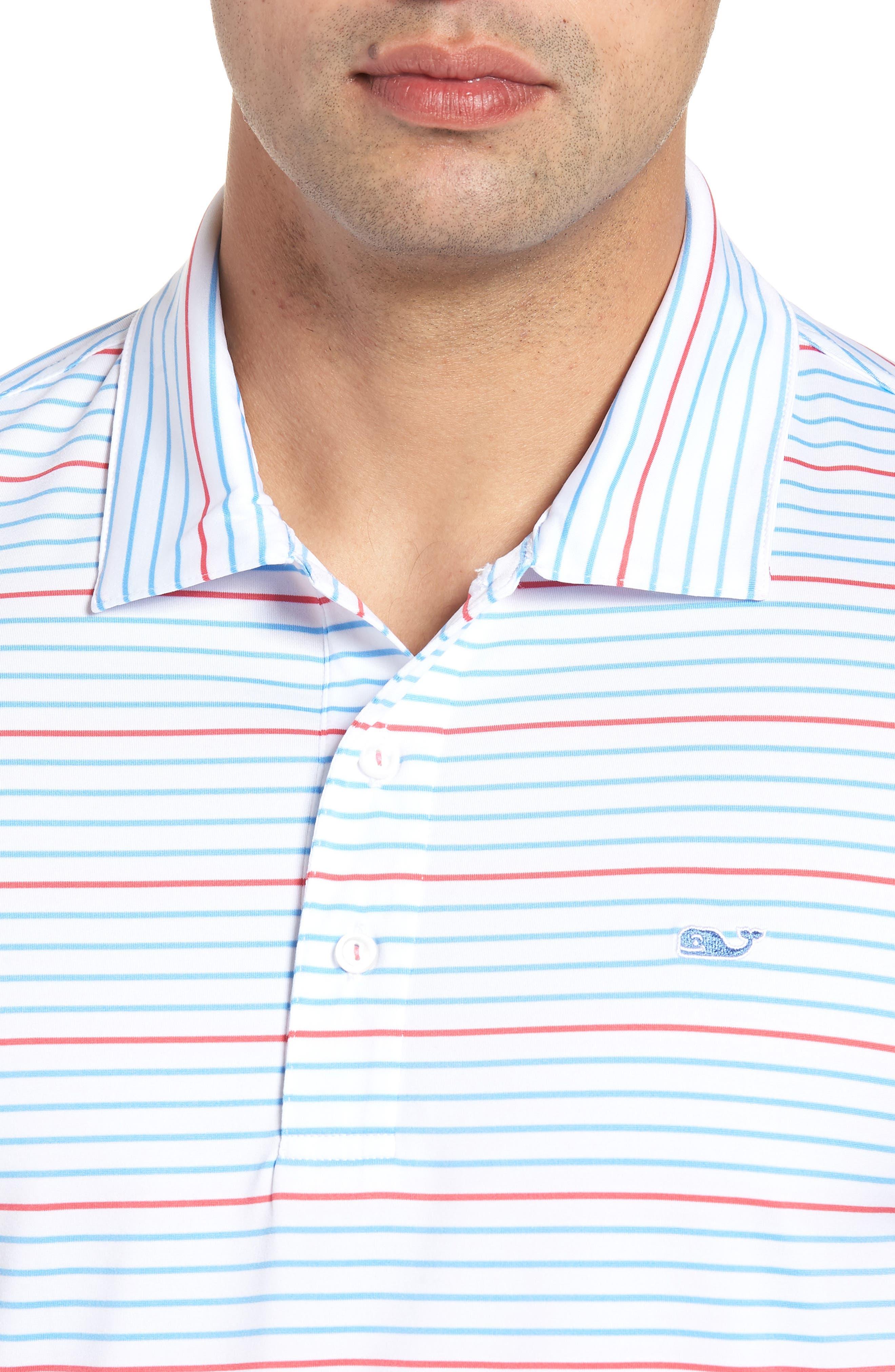 Swindell Stretch Stripe Polo,                             Alternate thumbnail 4, color,                             White Cap