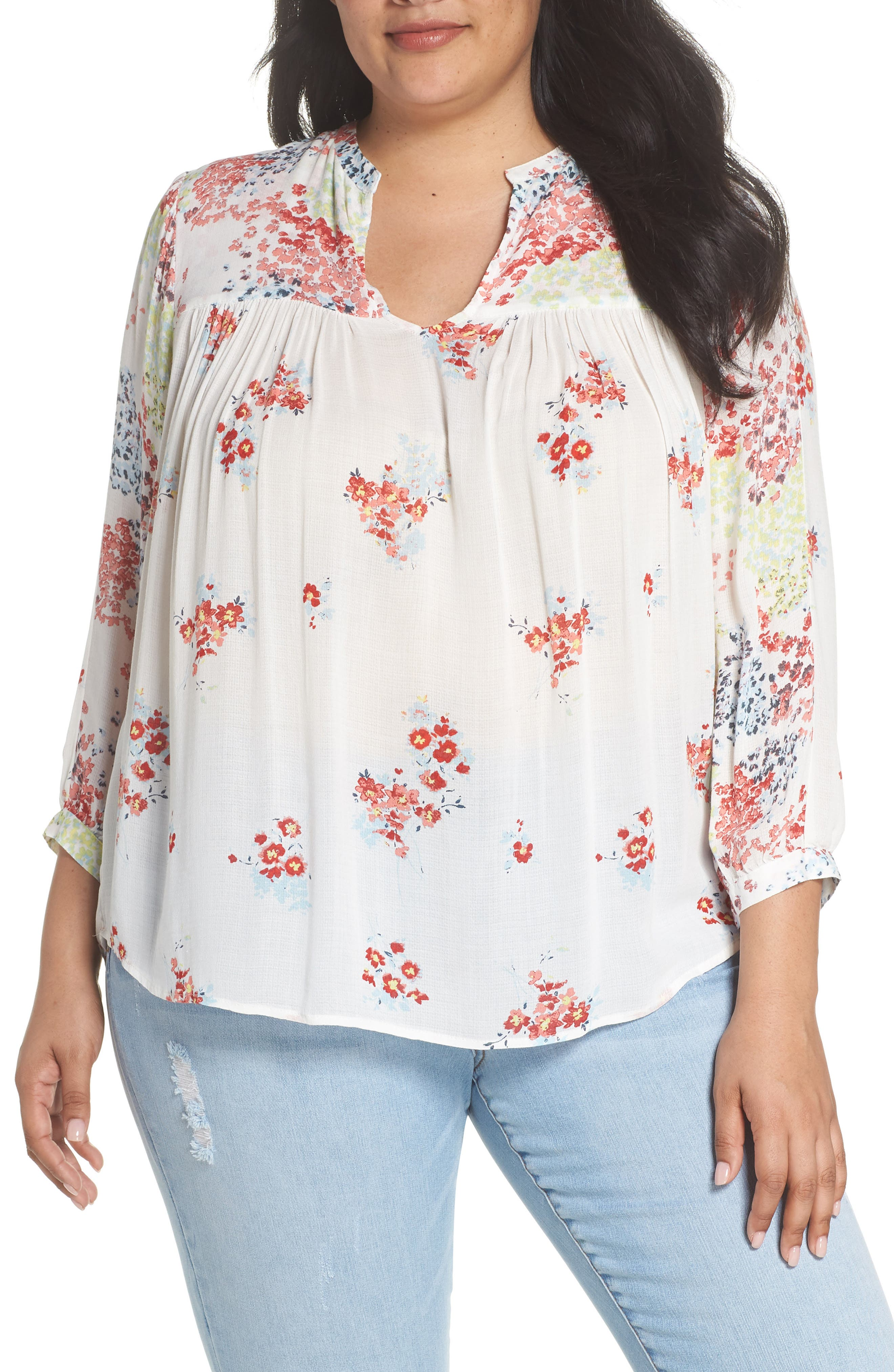 Lucky Brand Mixed Print Top Peasant Top (Plus Size)