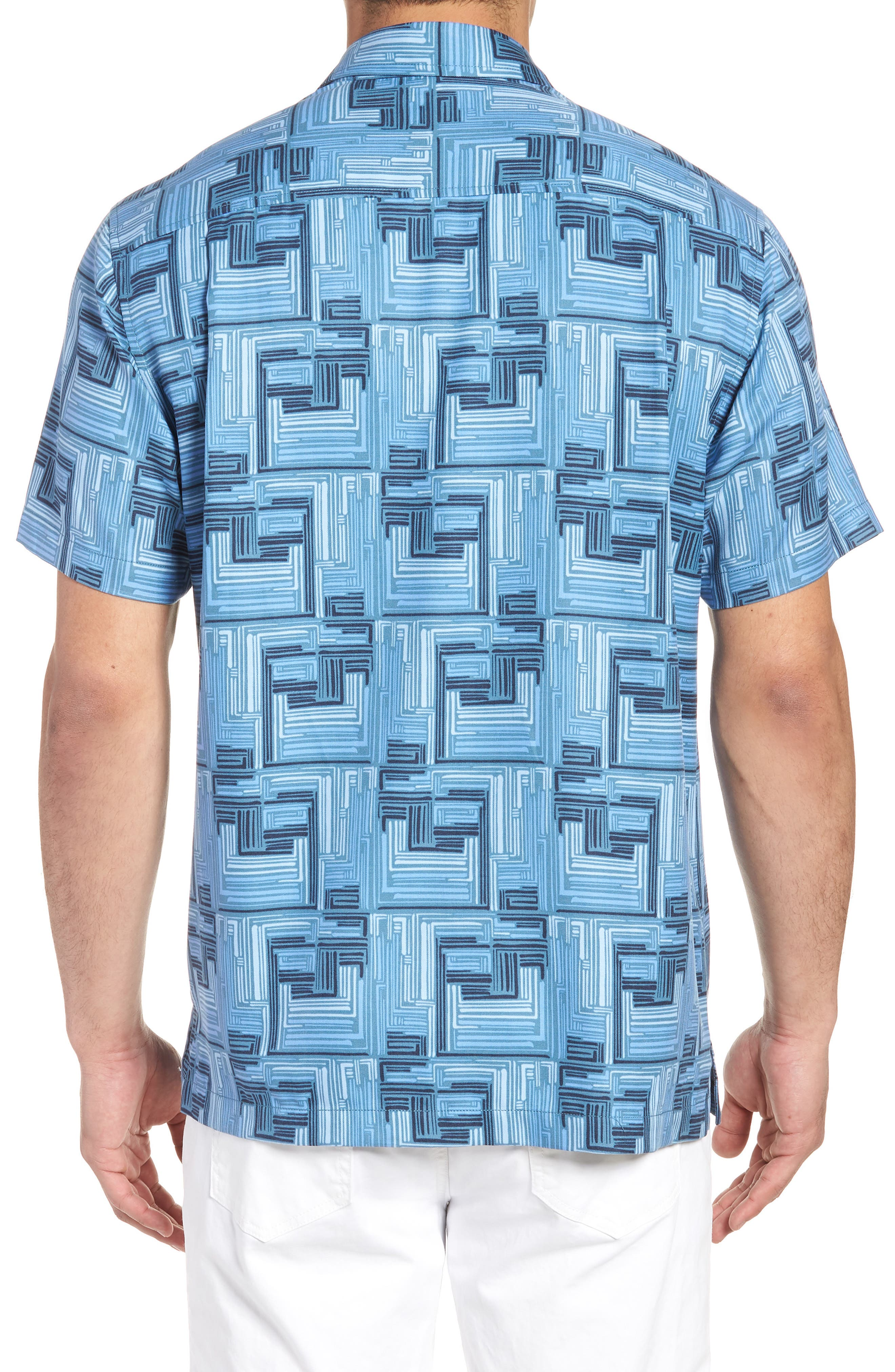 Mayan Maze Silk Blend Performance Camp Shirt,                             Alternate thumbnail 3, color,                             Ocean Deep