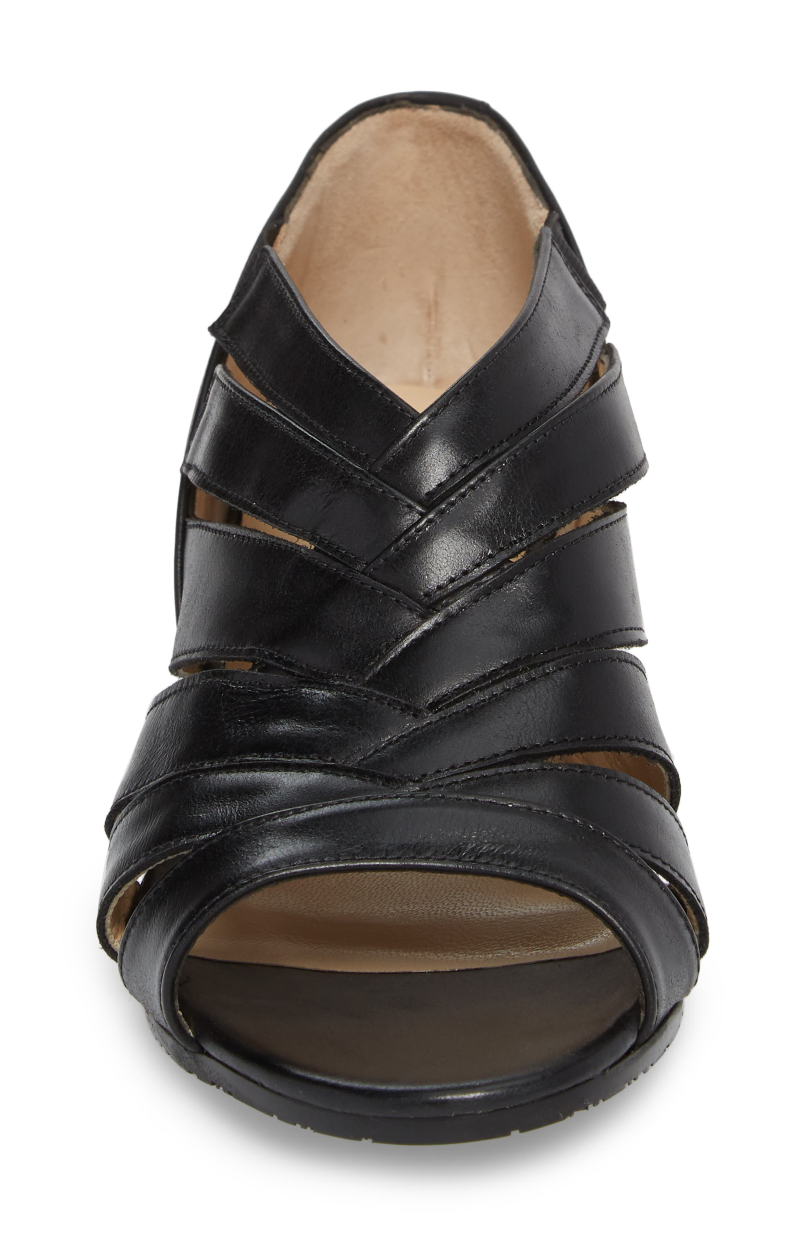 Demetra Sandal,                             Alternate thumbnail 4, color,                             Black Leather