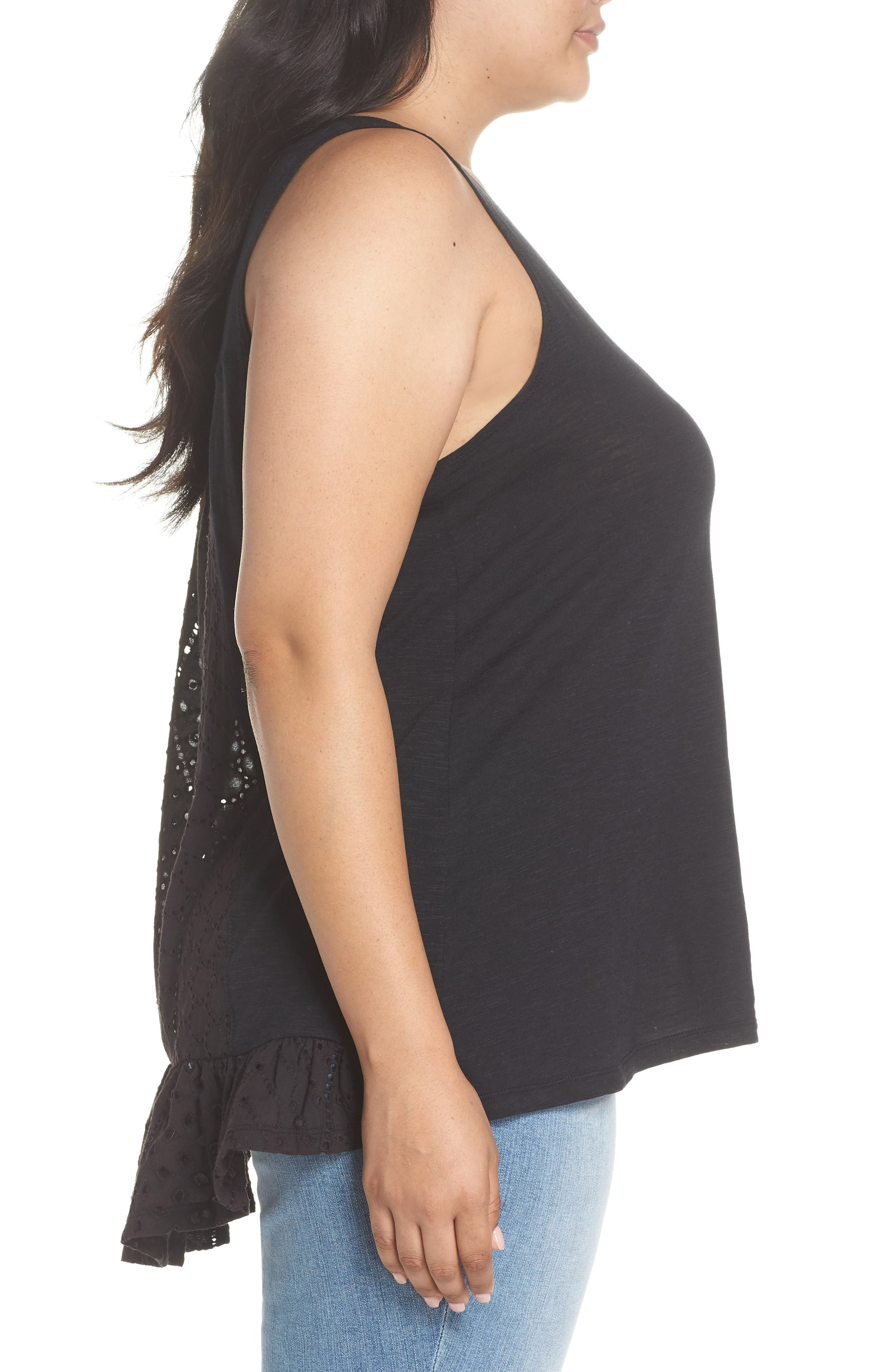 Eyelet Back Tank,                             Alternate thumbnail 3, color,                             Black