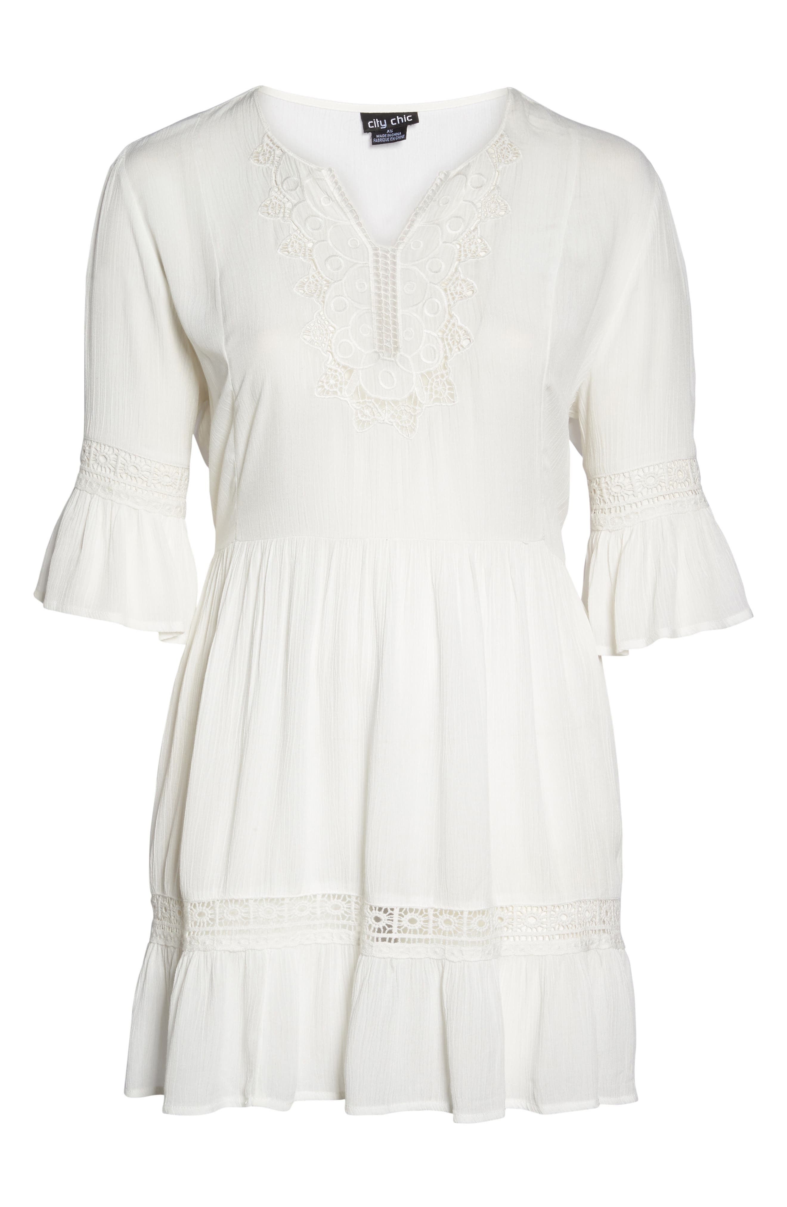 Embroidered Bell Sleeve Fit & Flare Dress,                             Alternate thumbnail 6, color,                             Ivory