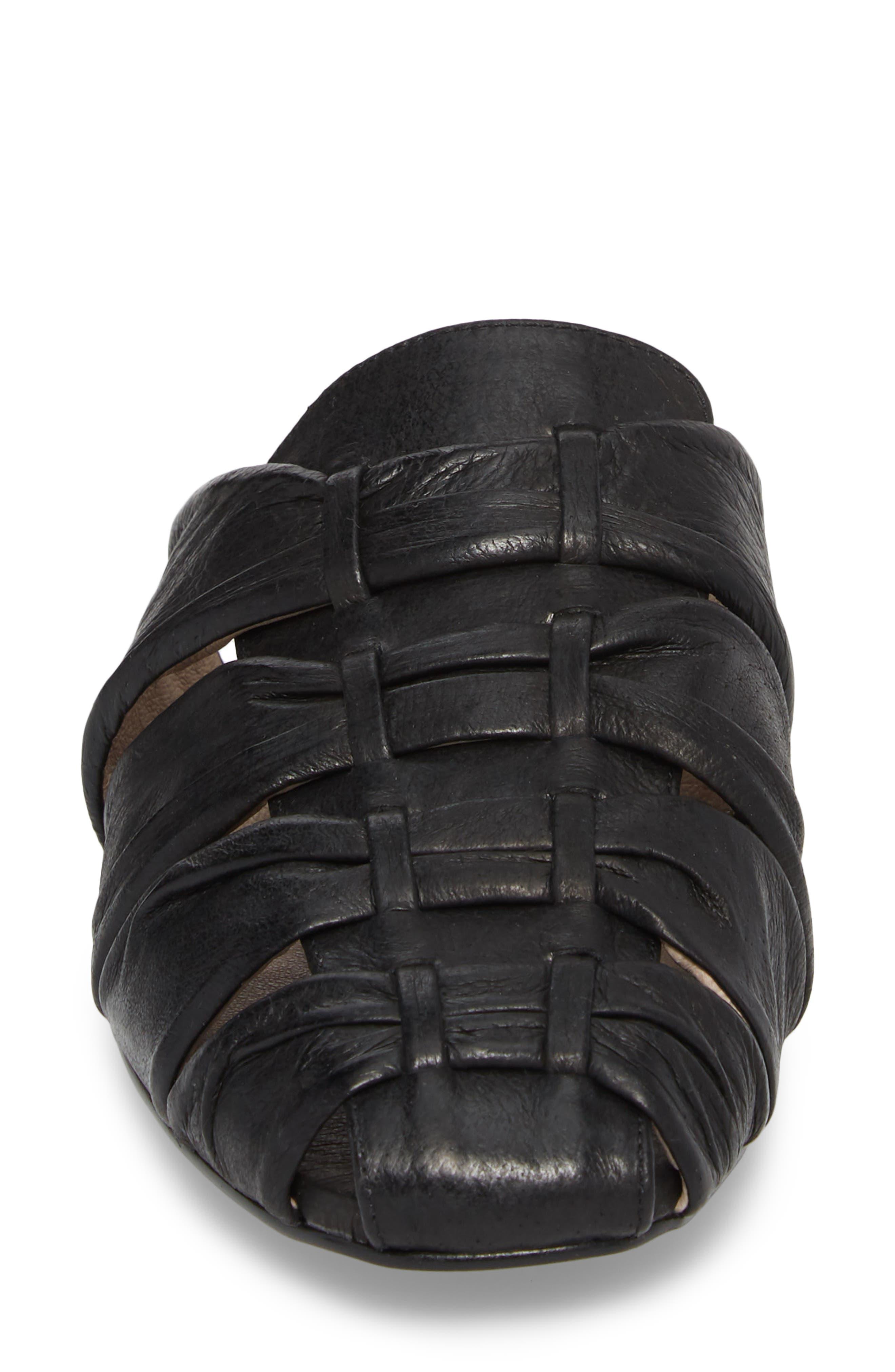 Evangeline Mule,                             Alternate thumbnail 4, color,                             Black Leather