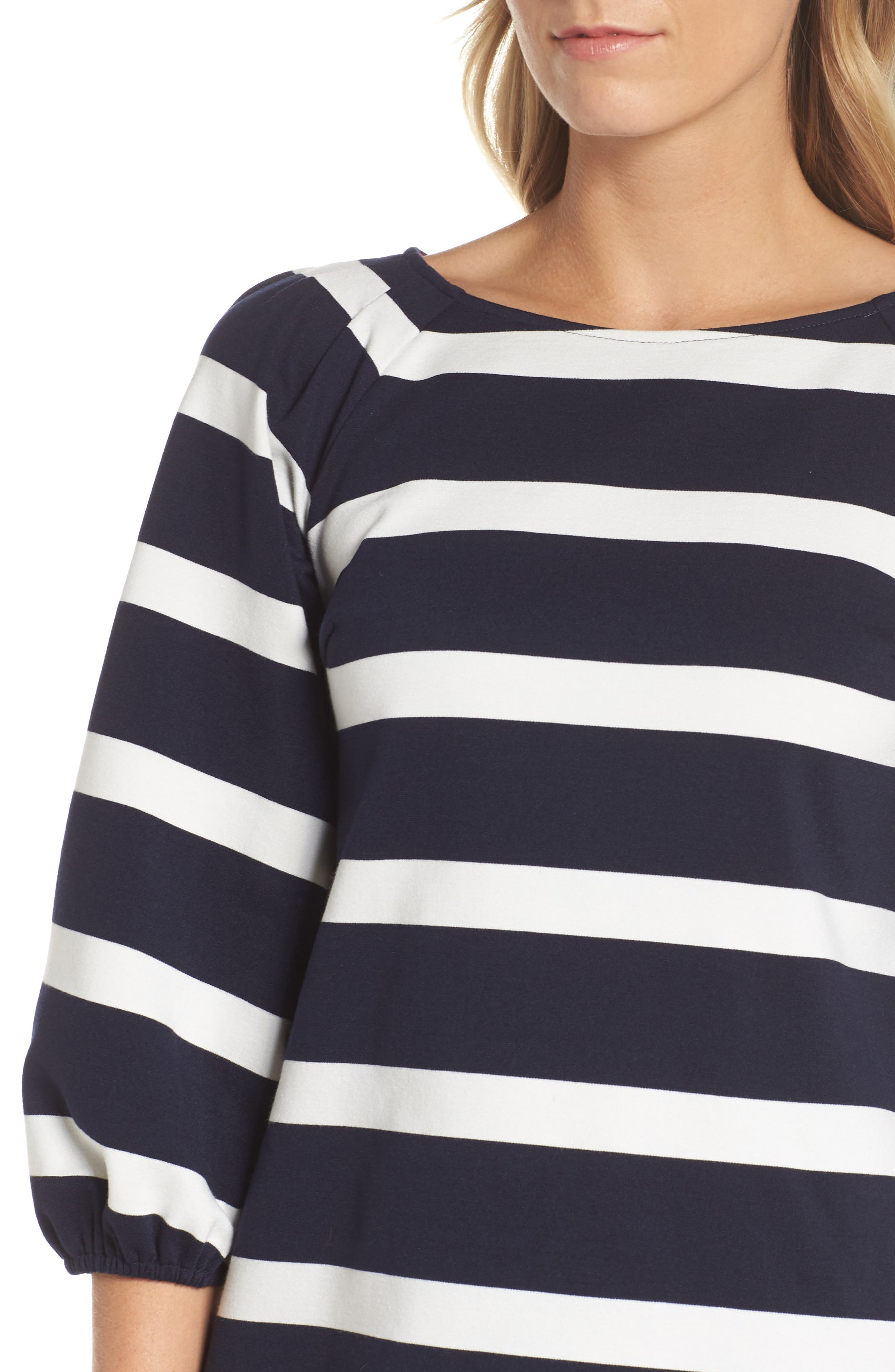 Stripe Balloon Sleeve Shift Dress,                             Alternate thumbnail 4, color,                             Navy/ Ivory