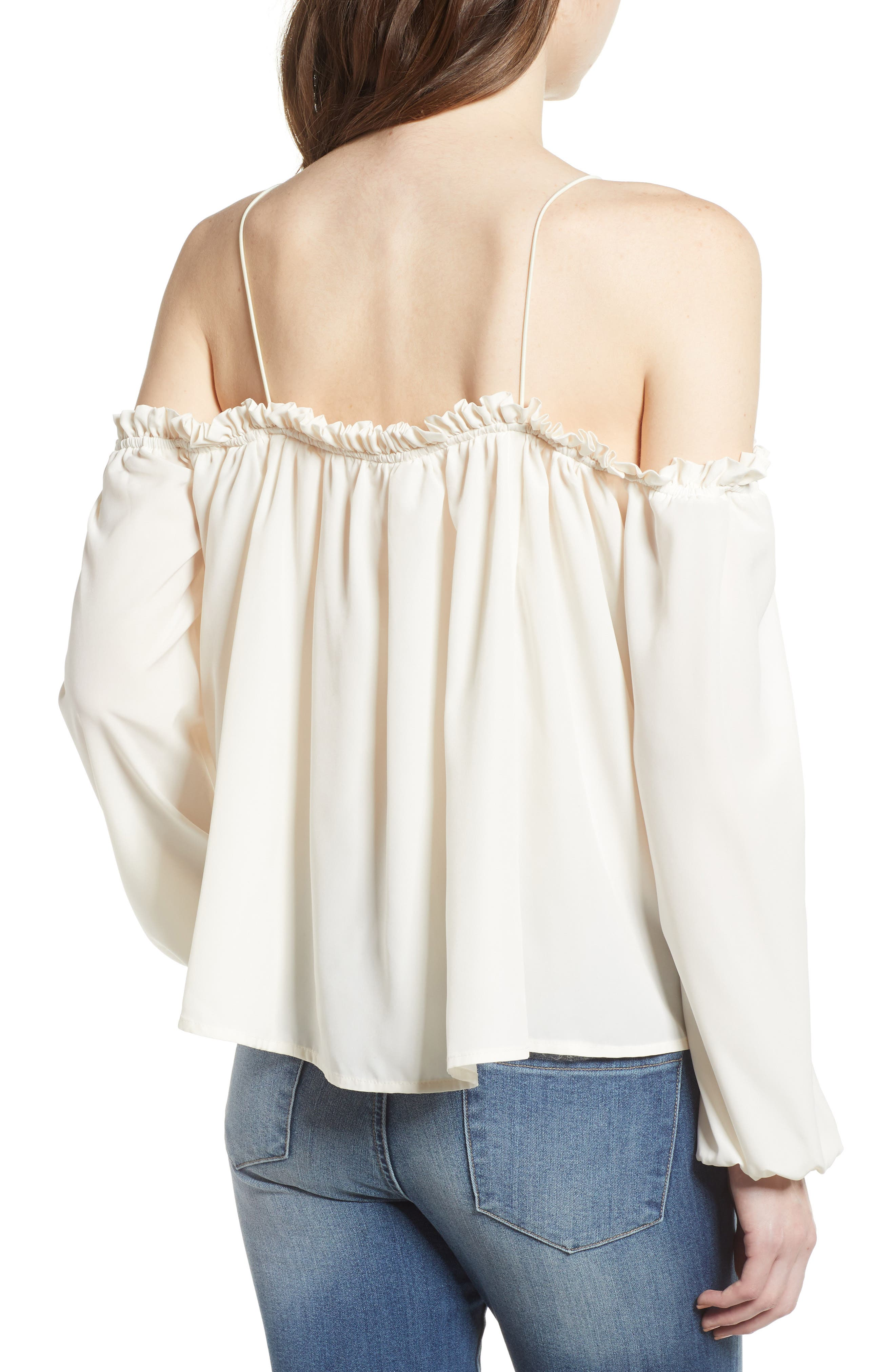 Cold Shoulder Blouson Top,                             Alternate thumbnail 2, color,                             Ivory Egret