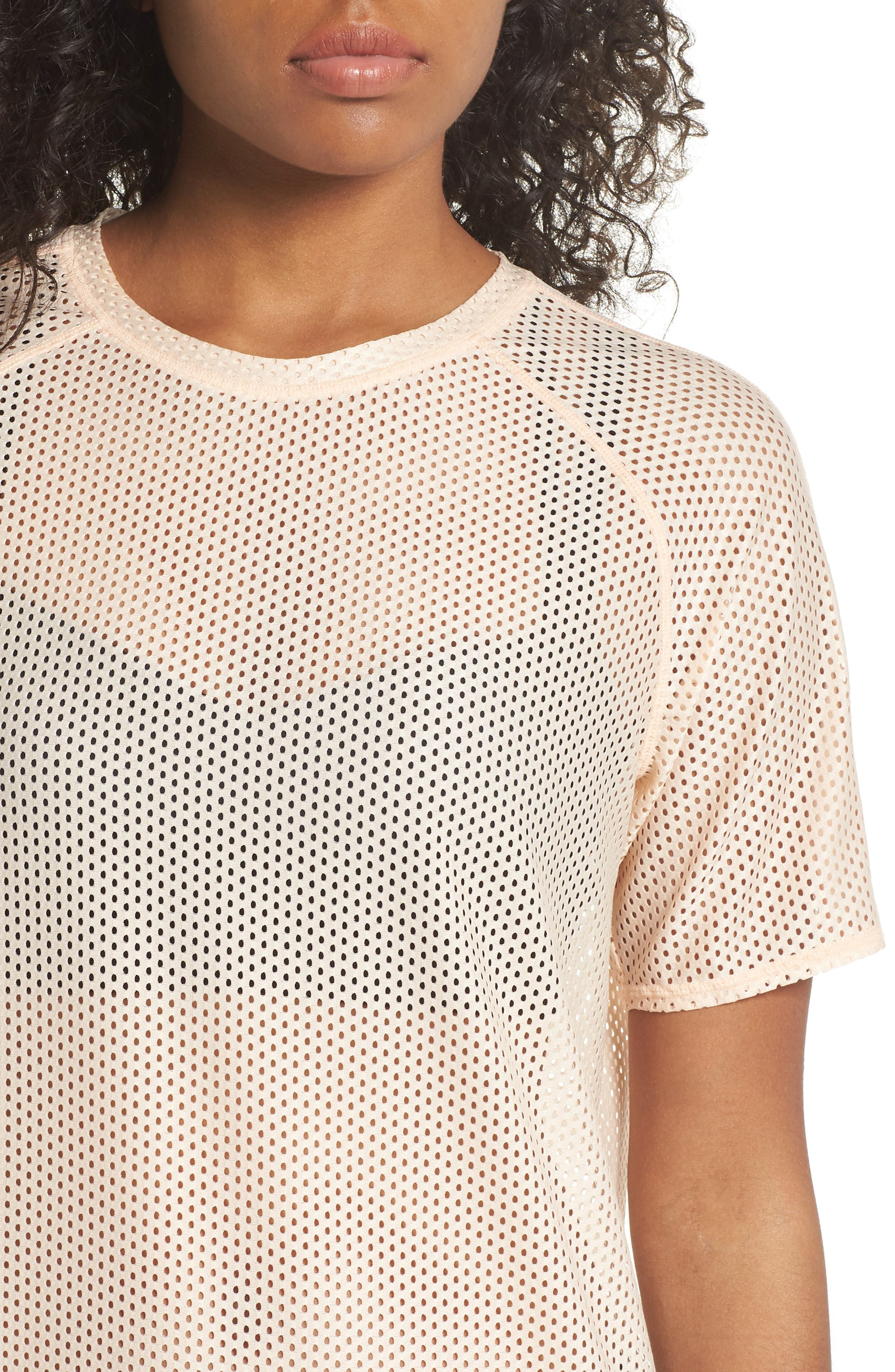 Throwback Mesh Tunic,                             Alternate thumbnail 4, color,                             Coral Pale