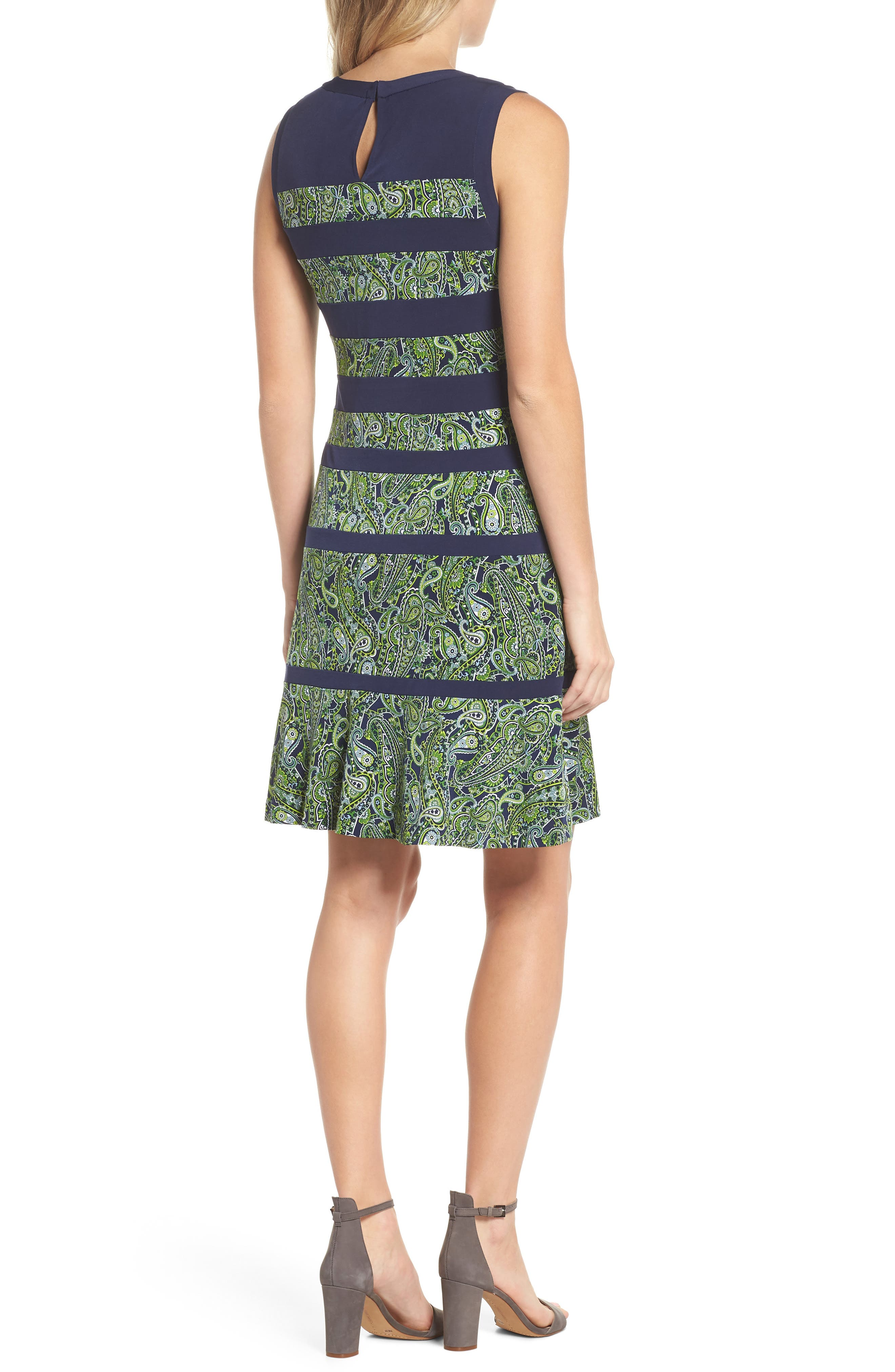 Paisley Paneled Dress,                             Alternate thumbnail 2, color,                             True Navy/ Green Apple Mu