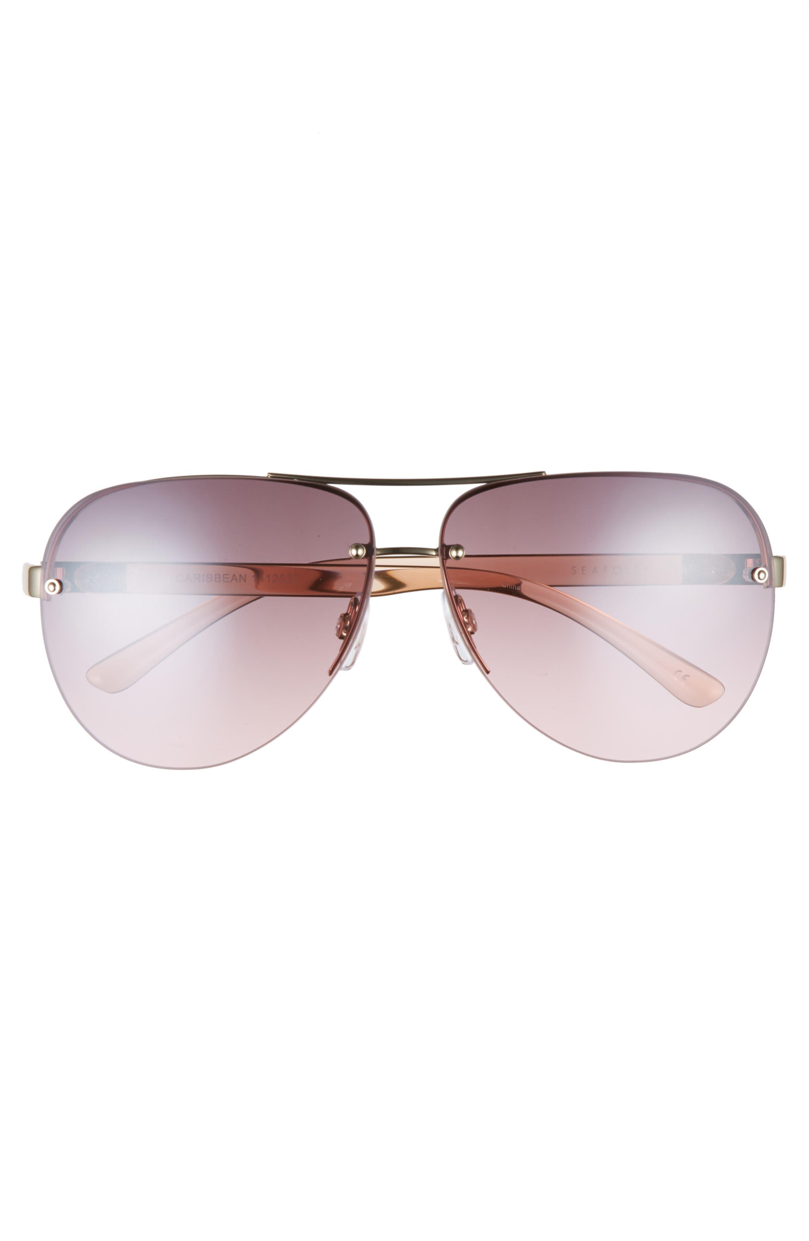 Caribbean 62mm Rimless Aviator Sunglasses,                             Alternate thumbnail 3, color,                             Gold