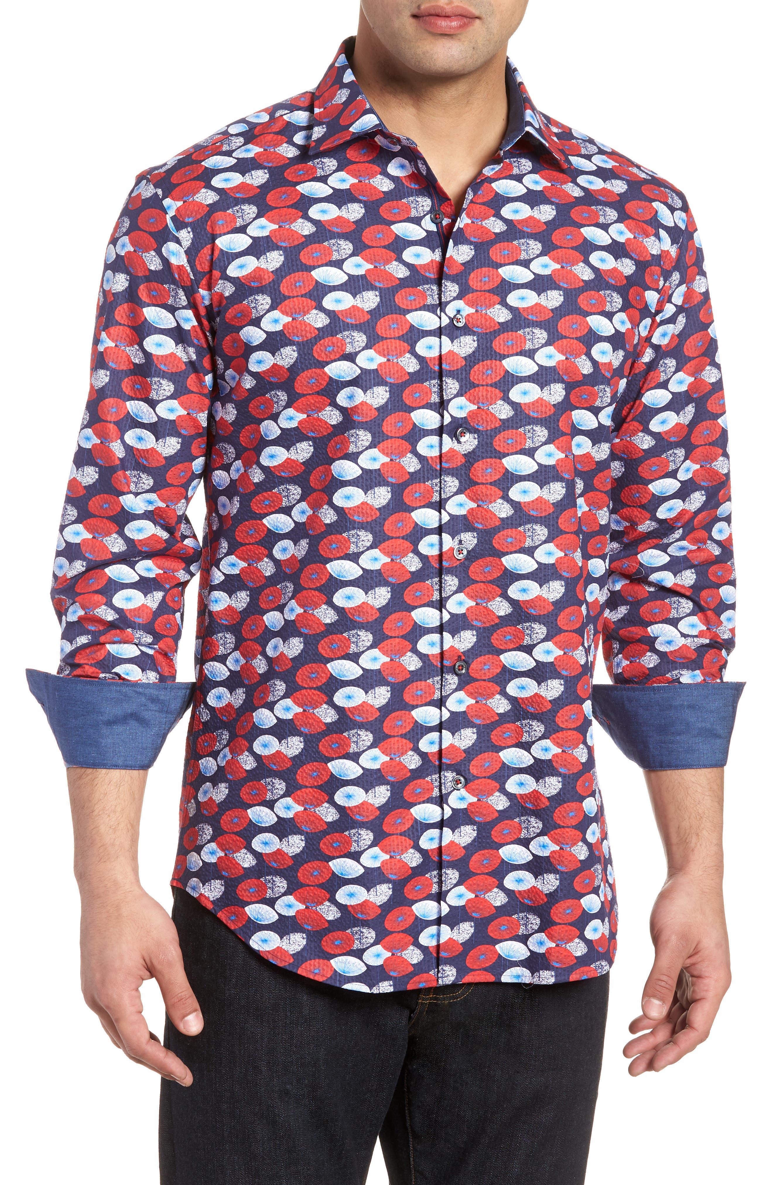 Woven Sport Shirt,                         Main,                         color, Navy