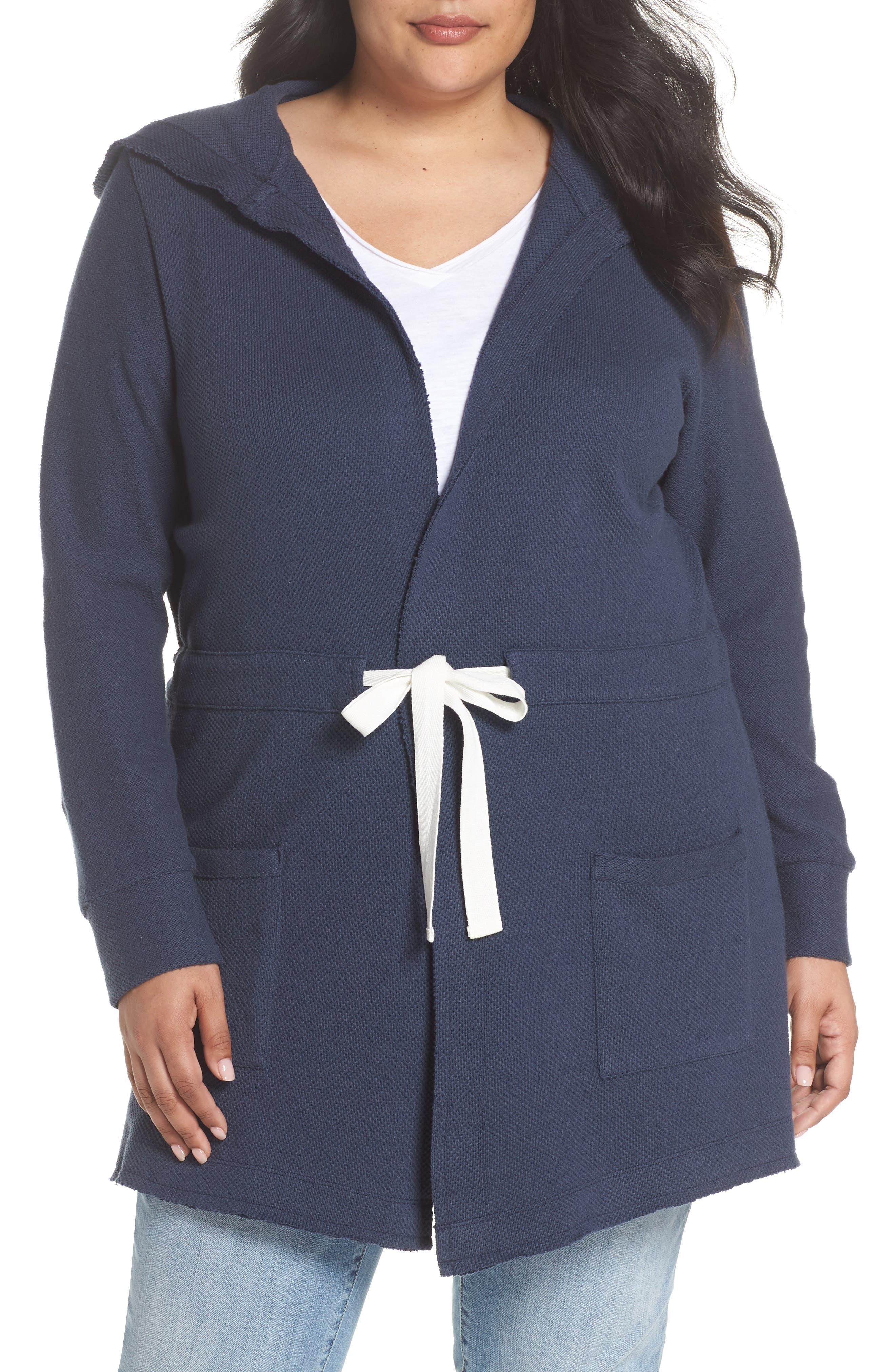 Tie Waist Knit Hooded Jacket,                             Main thumbnail 1, color,                             Navy Indigo