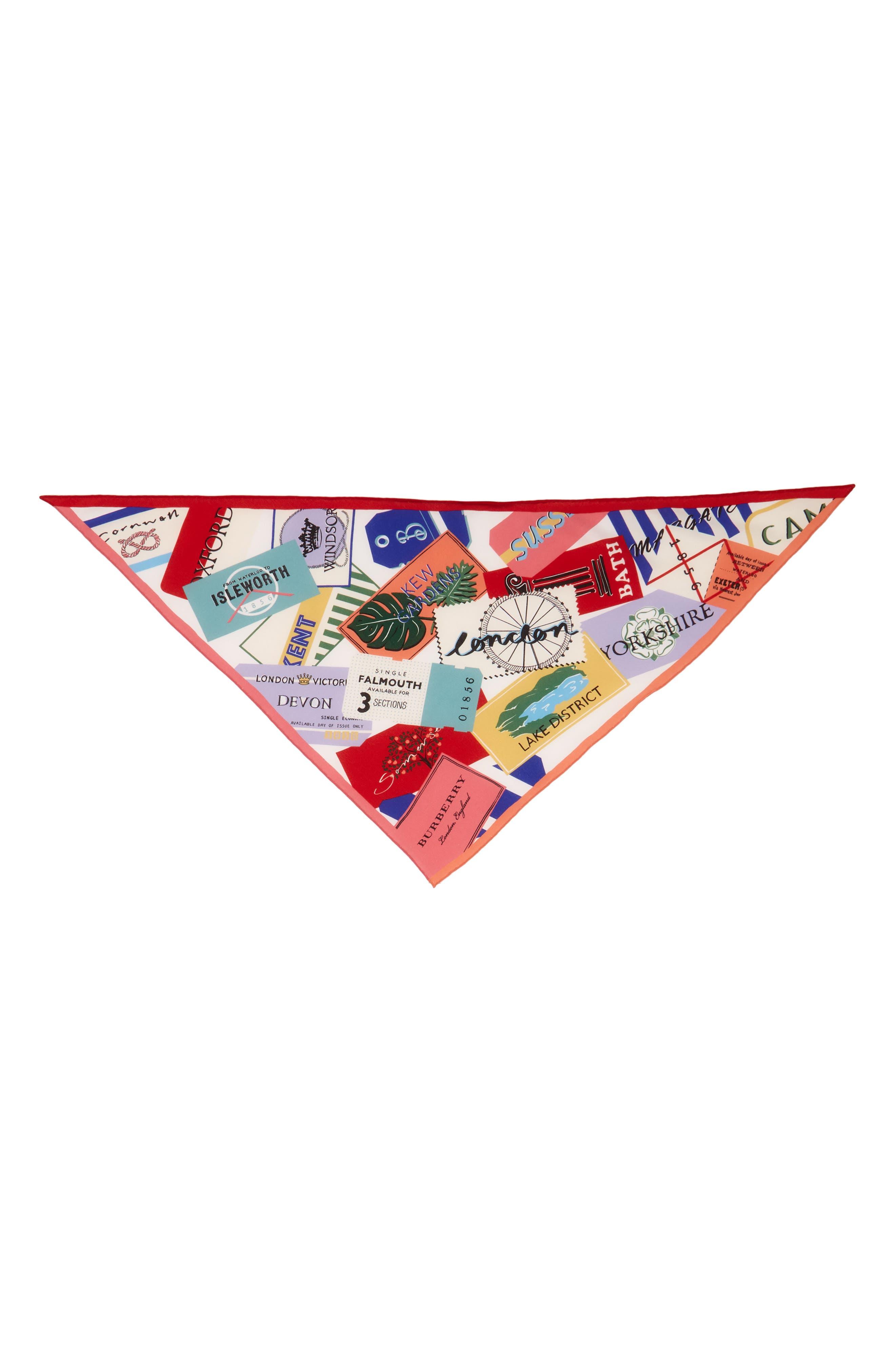 Burberry Ticket Silk Triangle Scarf