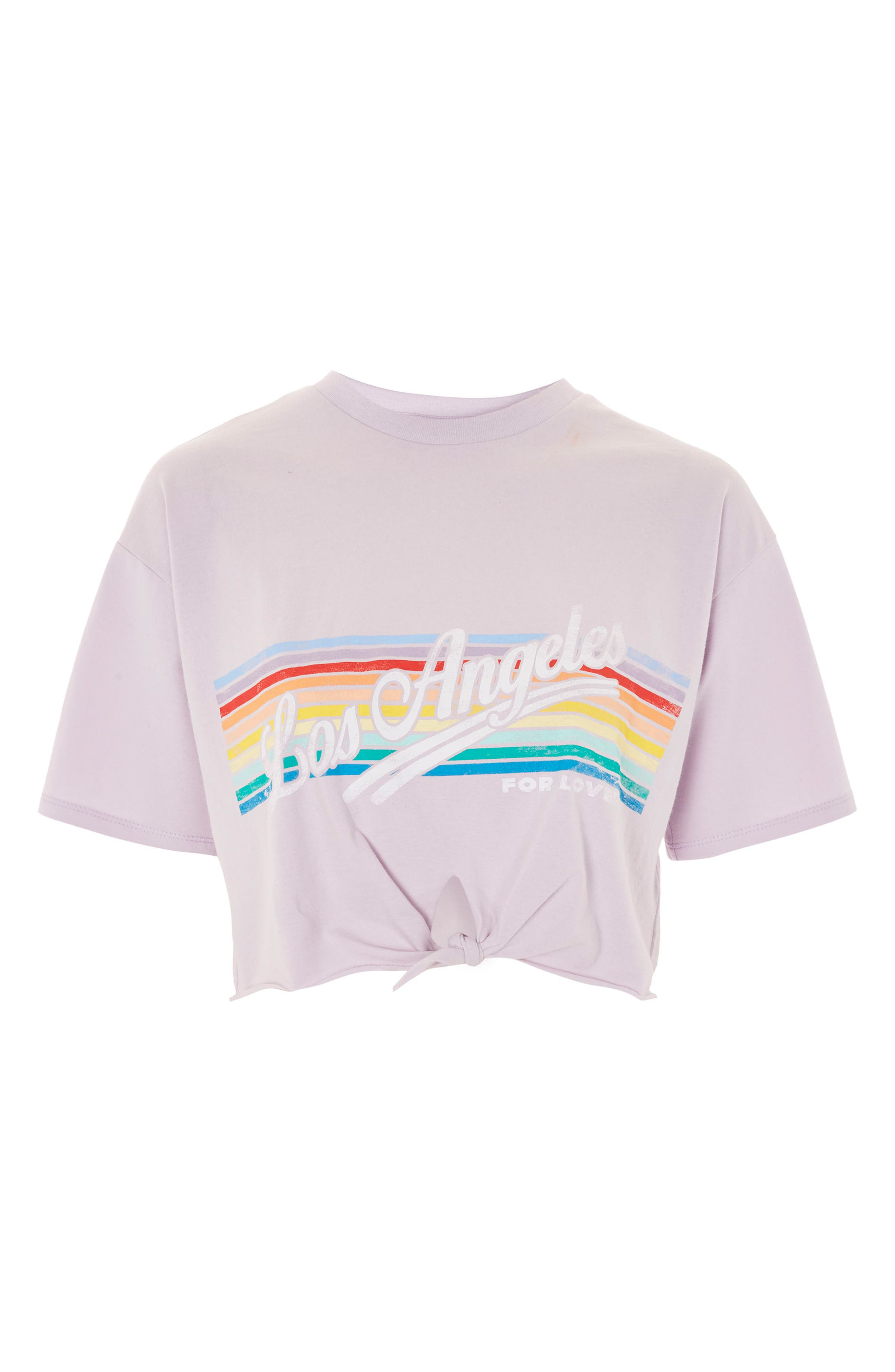LA Rainbow Stripe T-Shirt,                             Alternate thumbnail 4, color,                             Lilac
