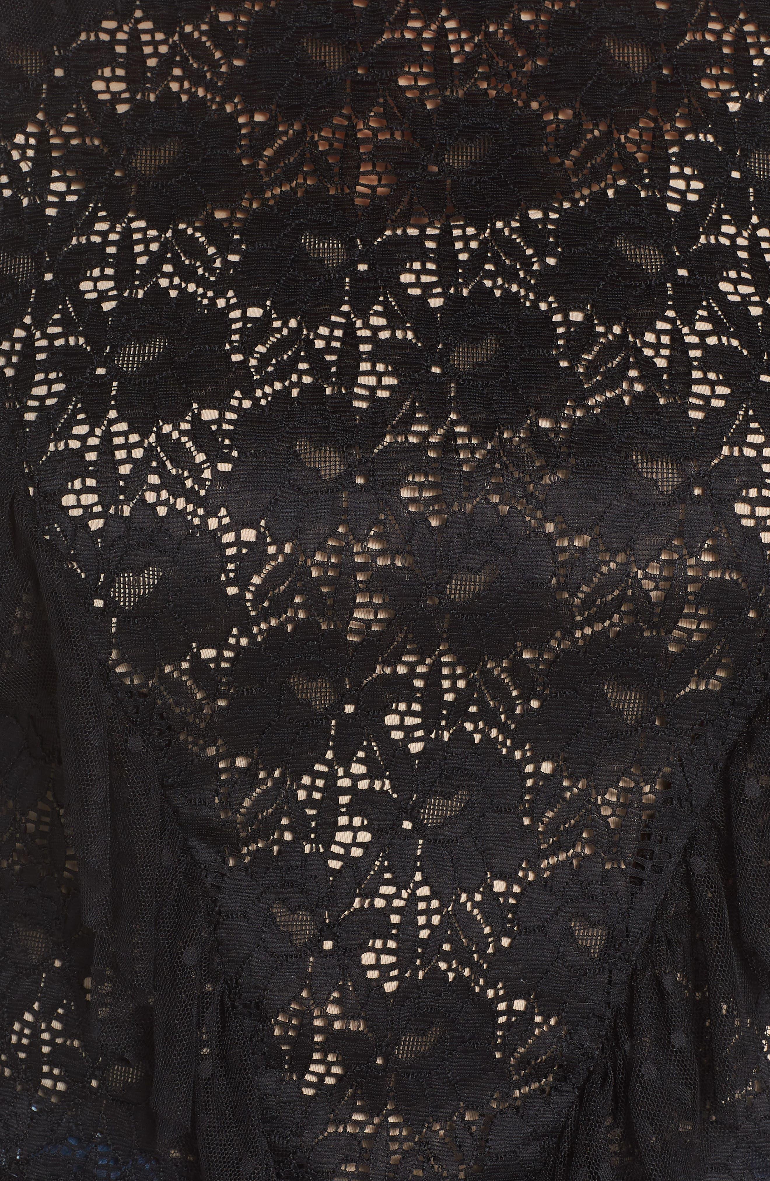 Ruffle Trim Lace Top,                             Alternate thumbnail 6, color,                             Black