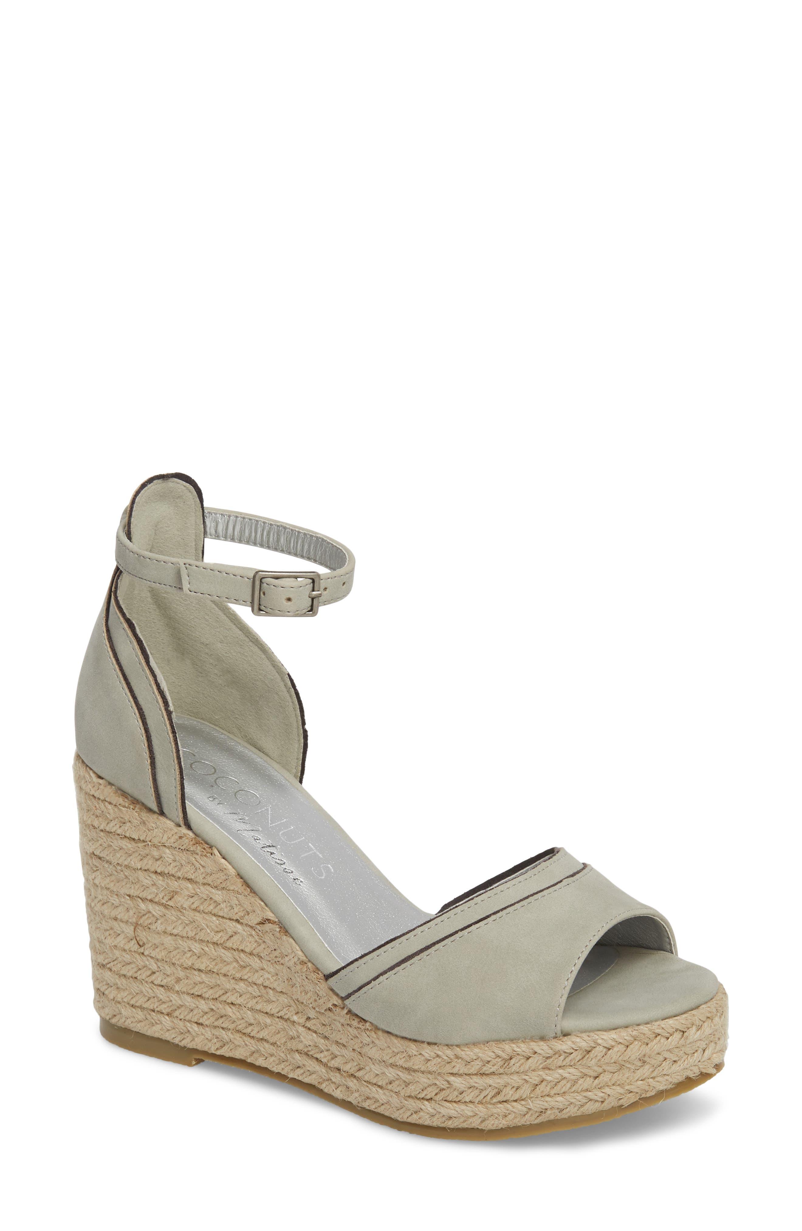 Bon Voyage Espadrille Wedge Sandal,                         Main,                         color, Grey Fabric