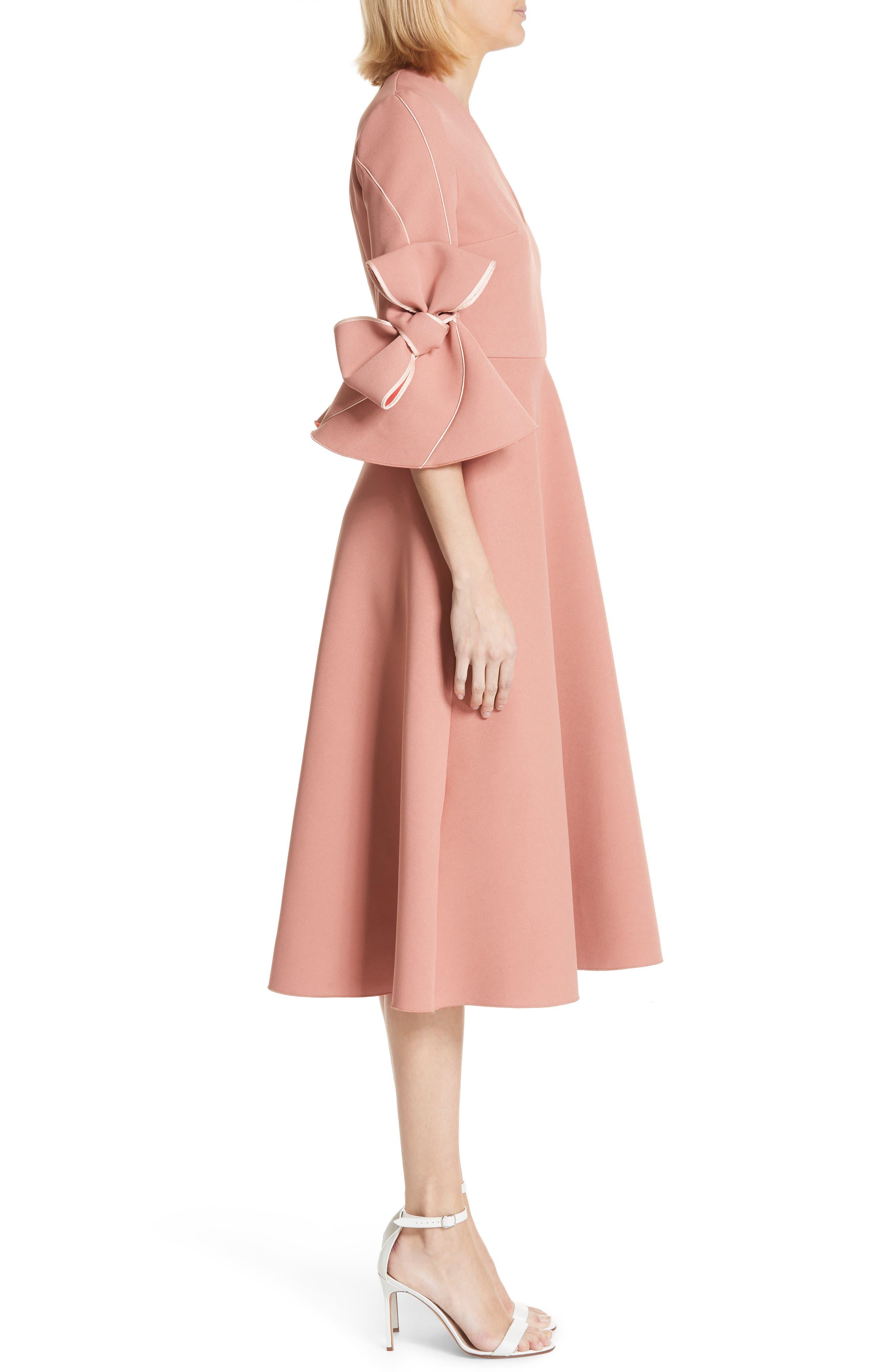 Sibella Bow Trim Dress,                             Alternate thumbnail 3, color,                             Putty