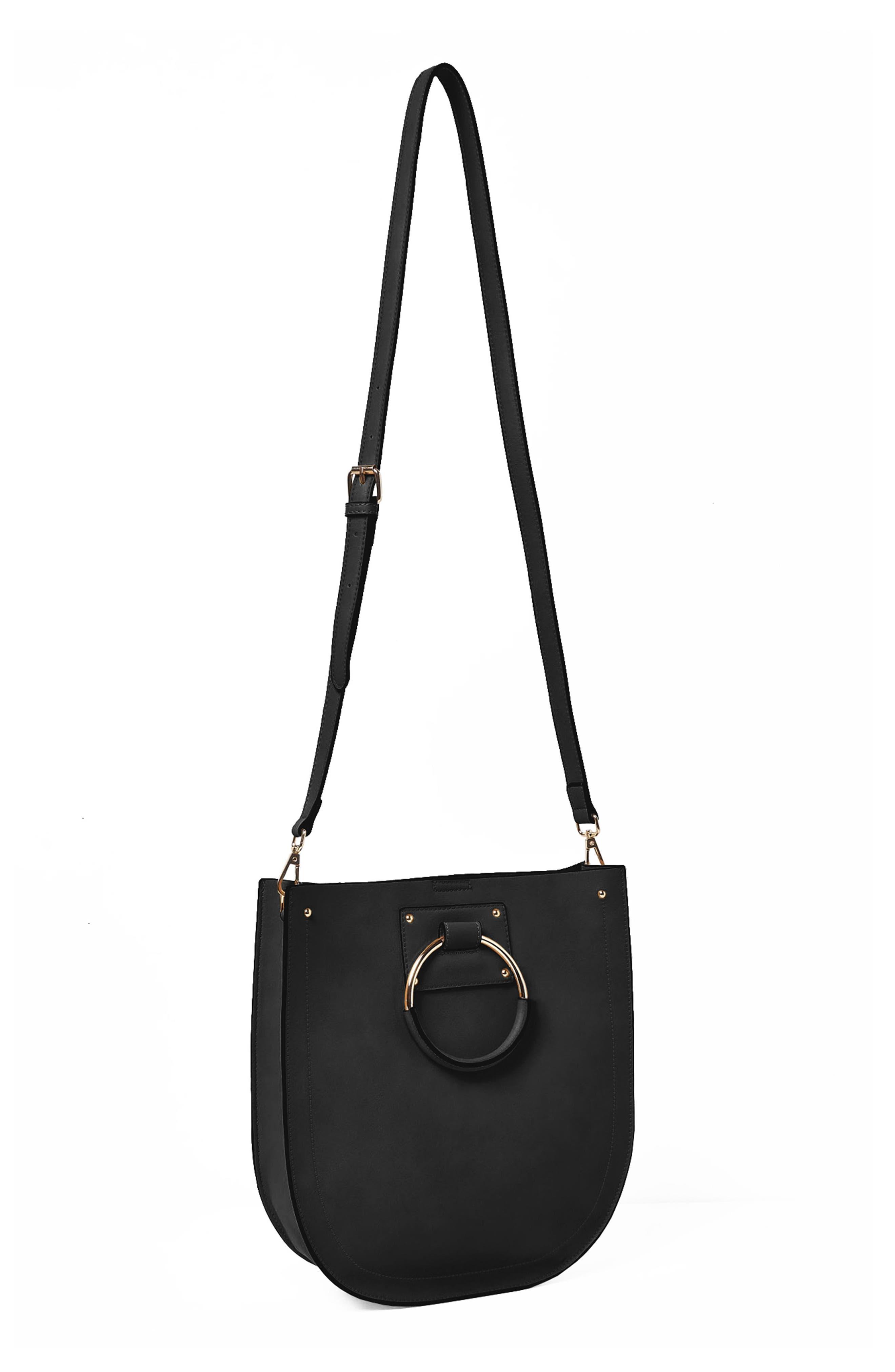 Nordic Dream Vegan Leather Shoulder Bag,                             Alternate thumbnail 3, color,                             Black