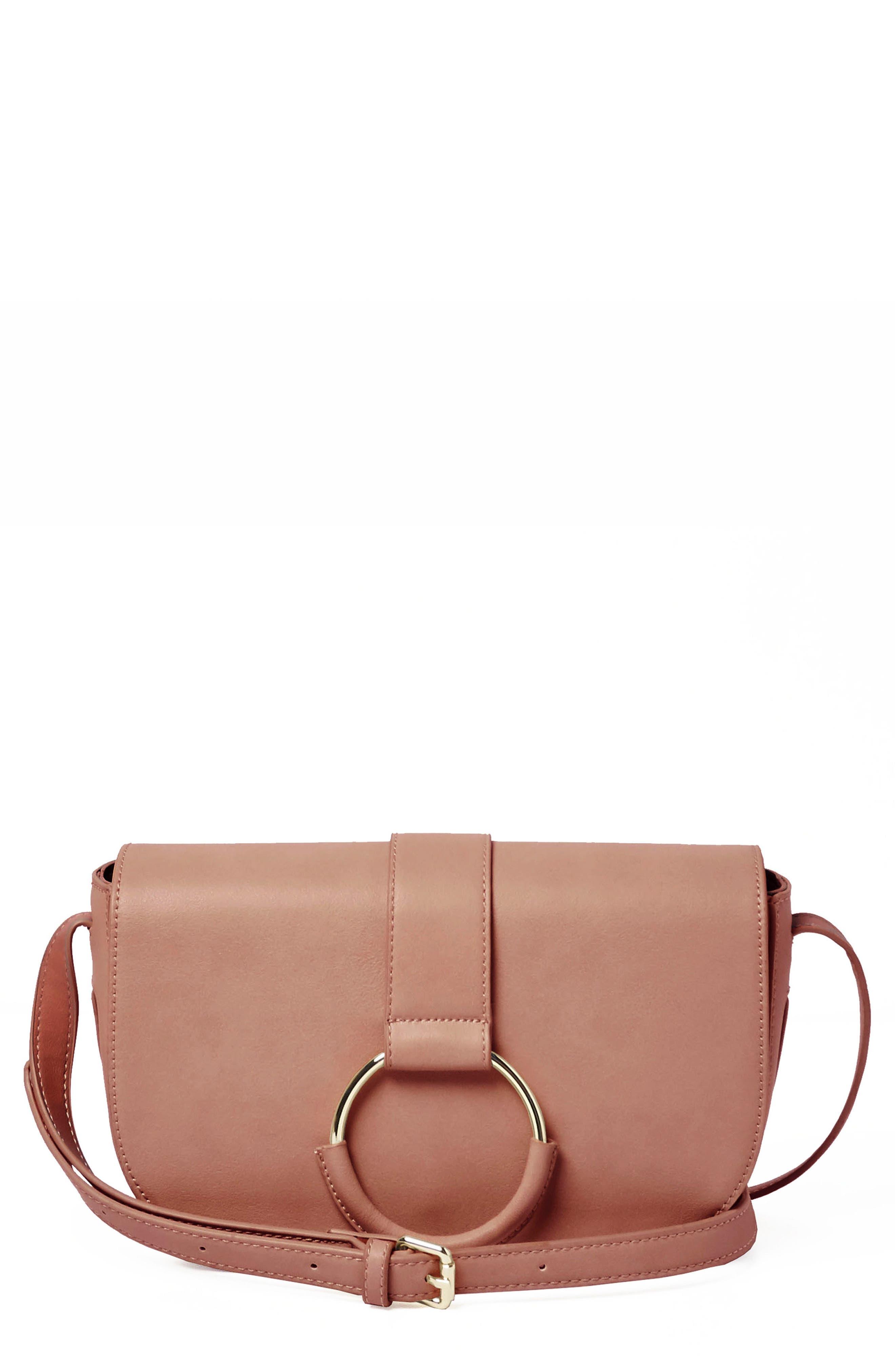 Lolita Vegan Leather Crossbody Bag,                         Main,                         color, Pink
