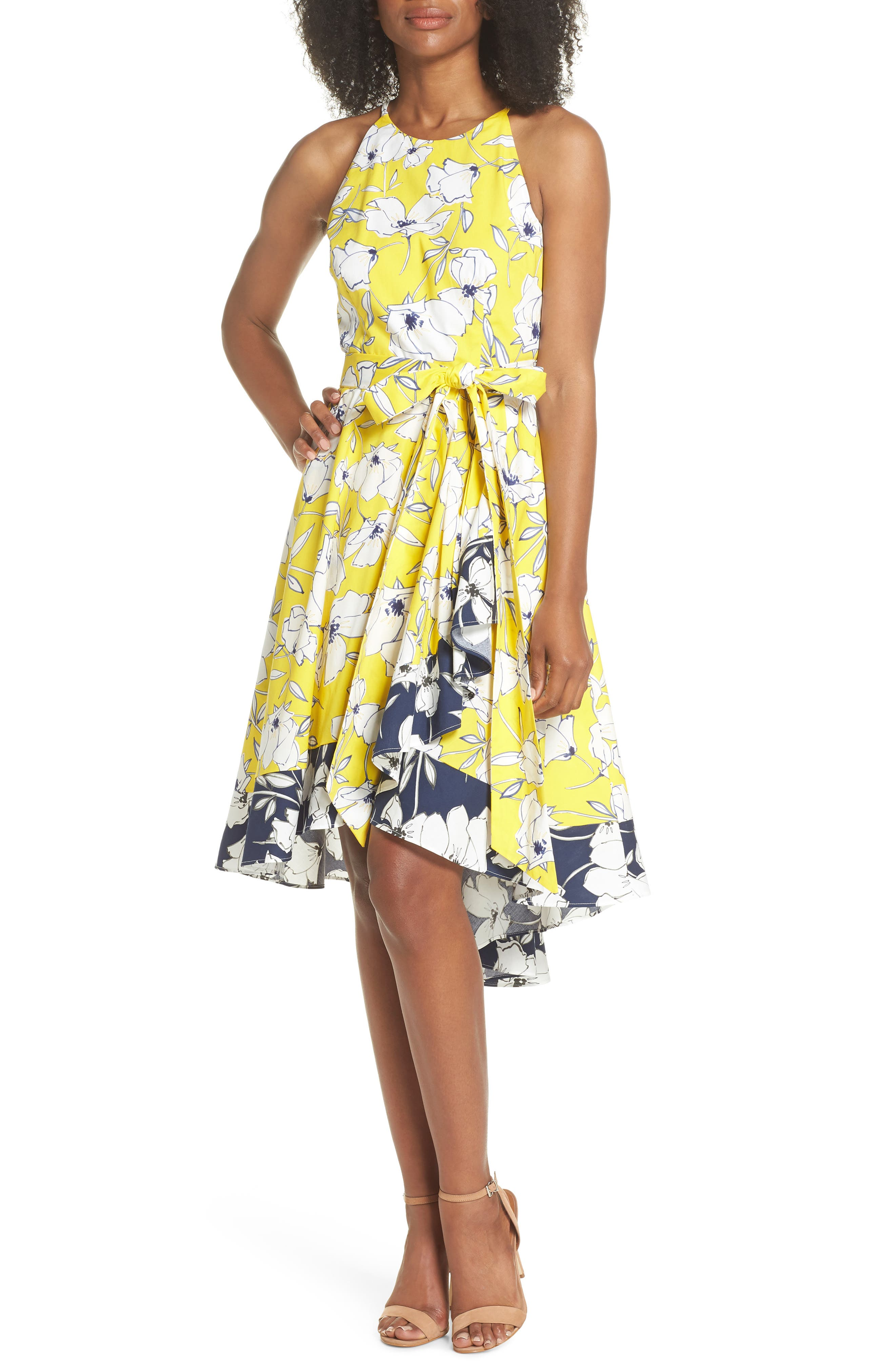 Floral Tie Waist Dress,                             Main thumbnail 1, color,                             Yellow/ Navy/ White