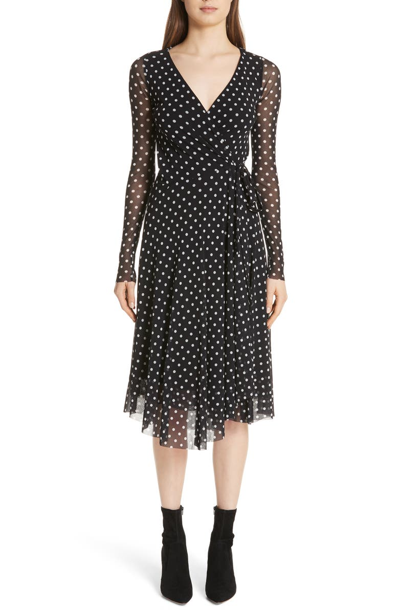 Polka Dot Tulle Wrap Dress
