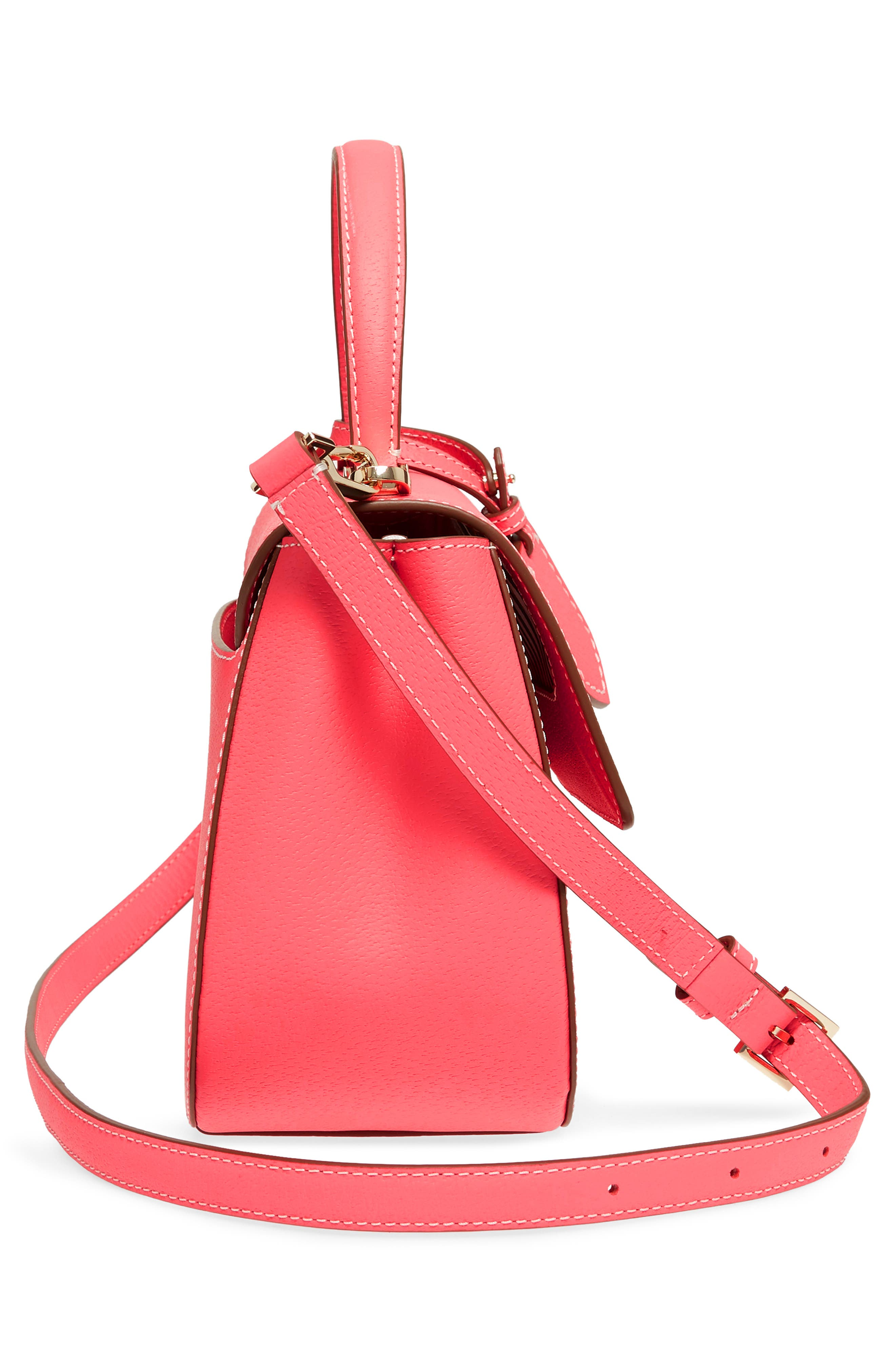 thompson street - justina leather satchel,                             Alternate thumbnail 5, color,                             Bright Flamingo