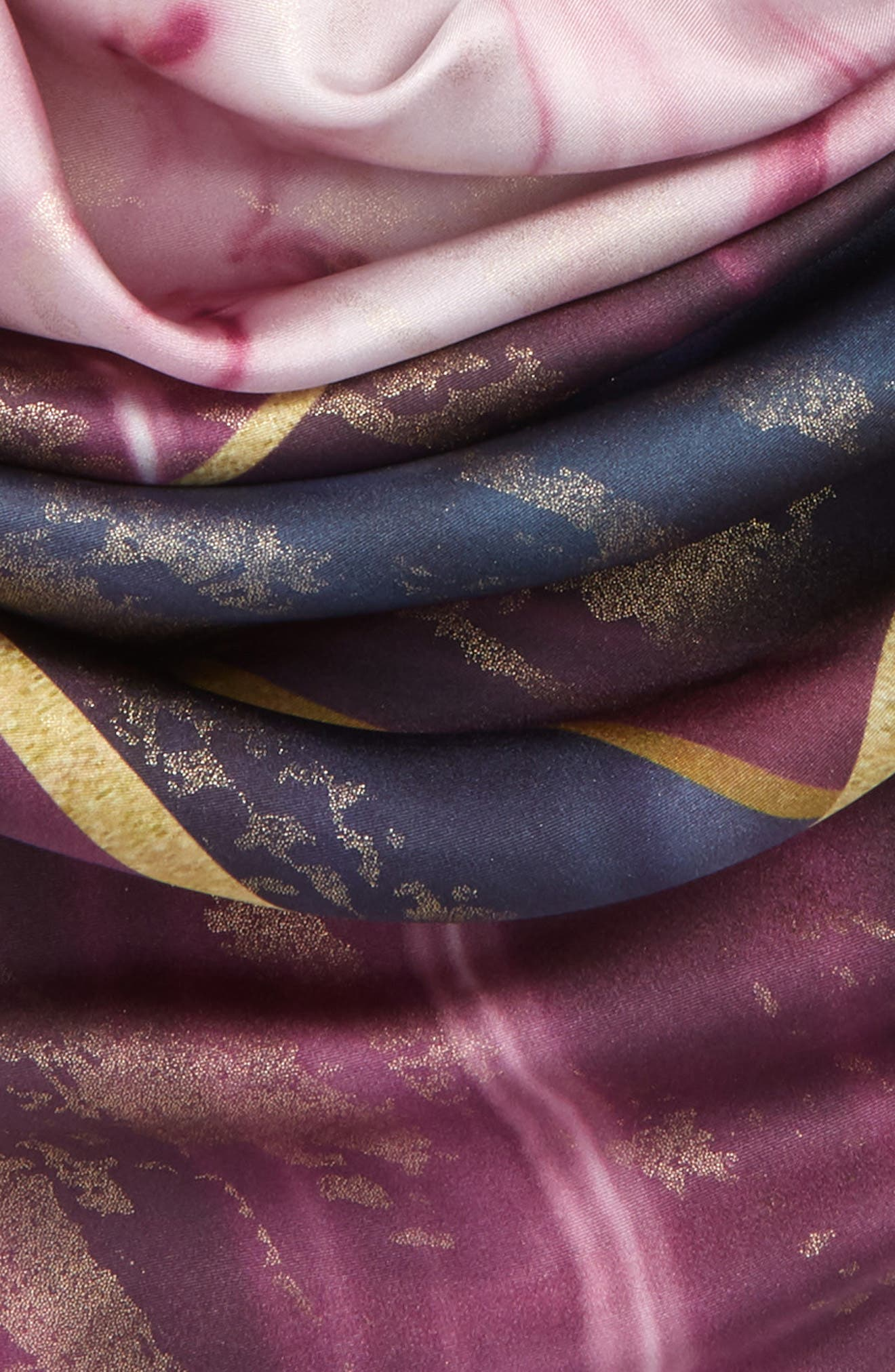 Balmoral Marble Square Silk Scarf,                             Alternate thumbnail 3, color,                             Deep Purple