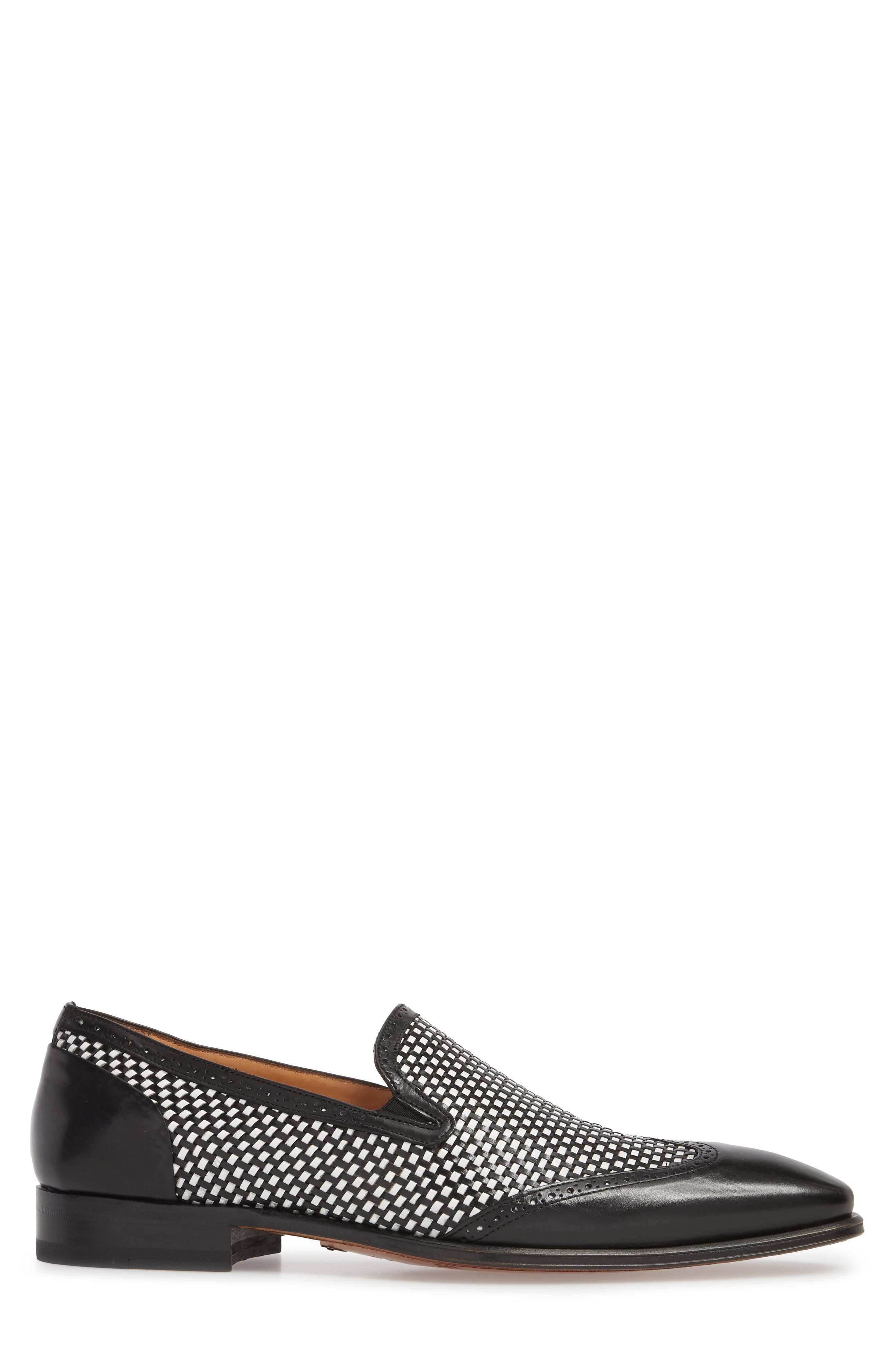 Nepos Woven Wingtip Loafer,                             Alternate thumbnail 3, color,                             Black/ White Leather