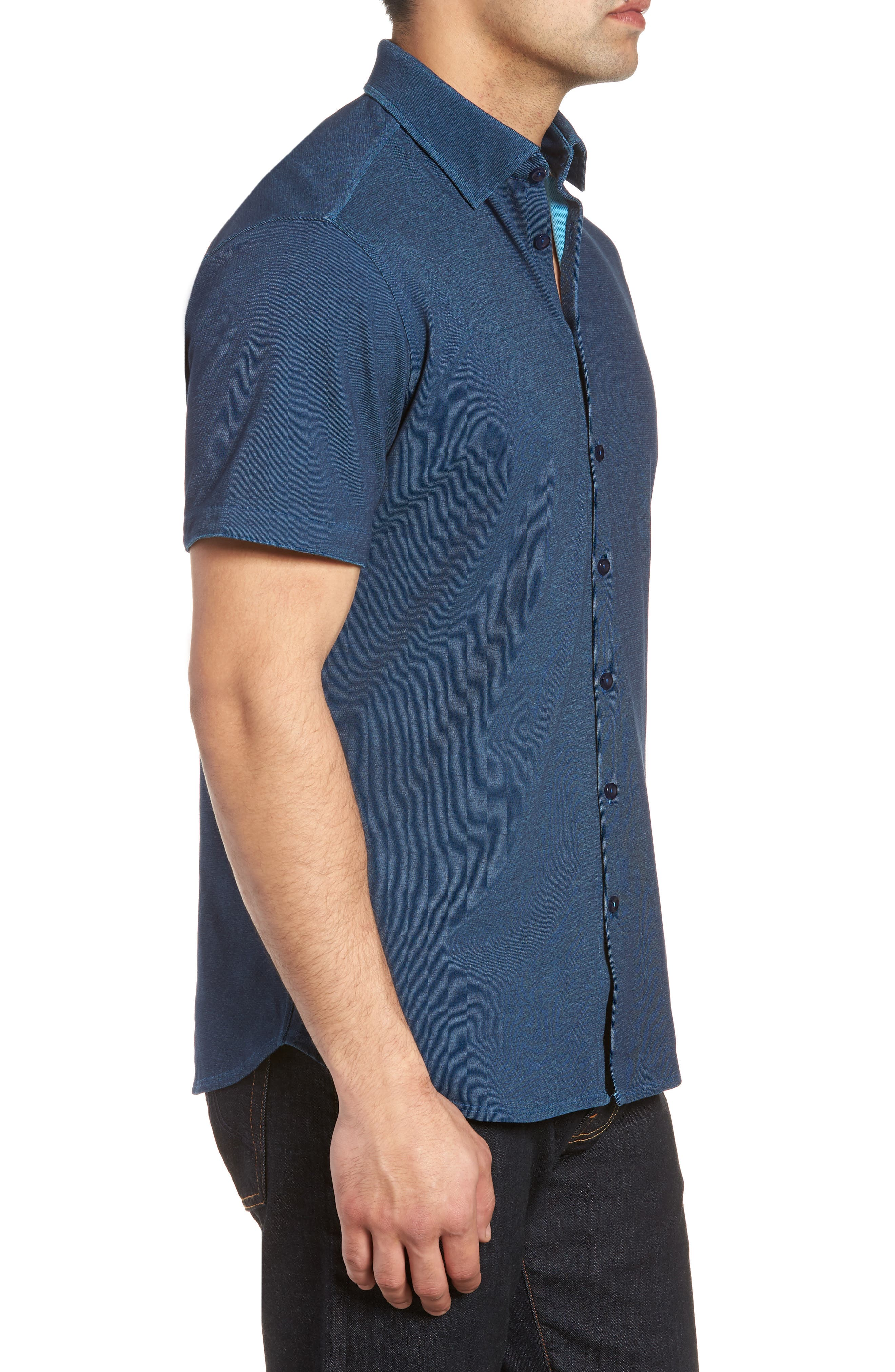 Contemporary Fit Tech Knit Sport Shirt,                             Alternate thumbnail 3, color,                             Navy