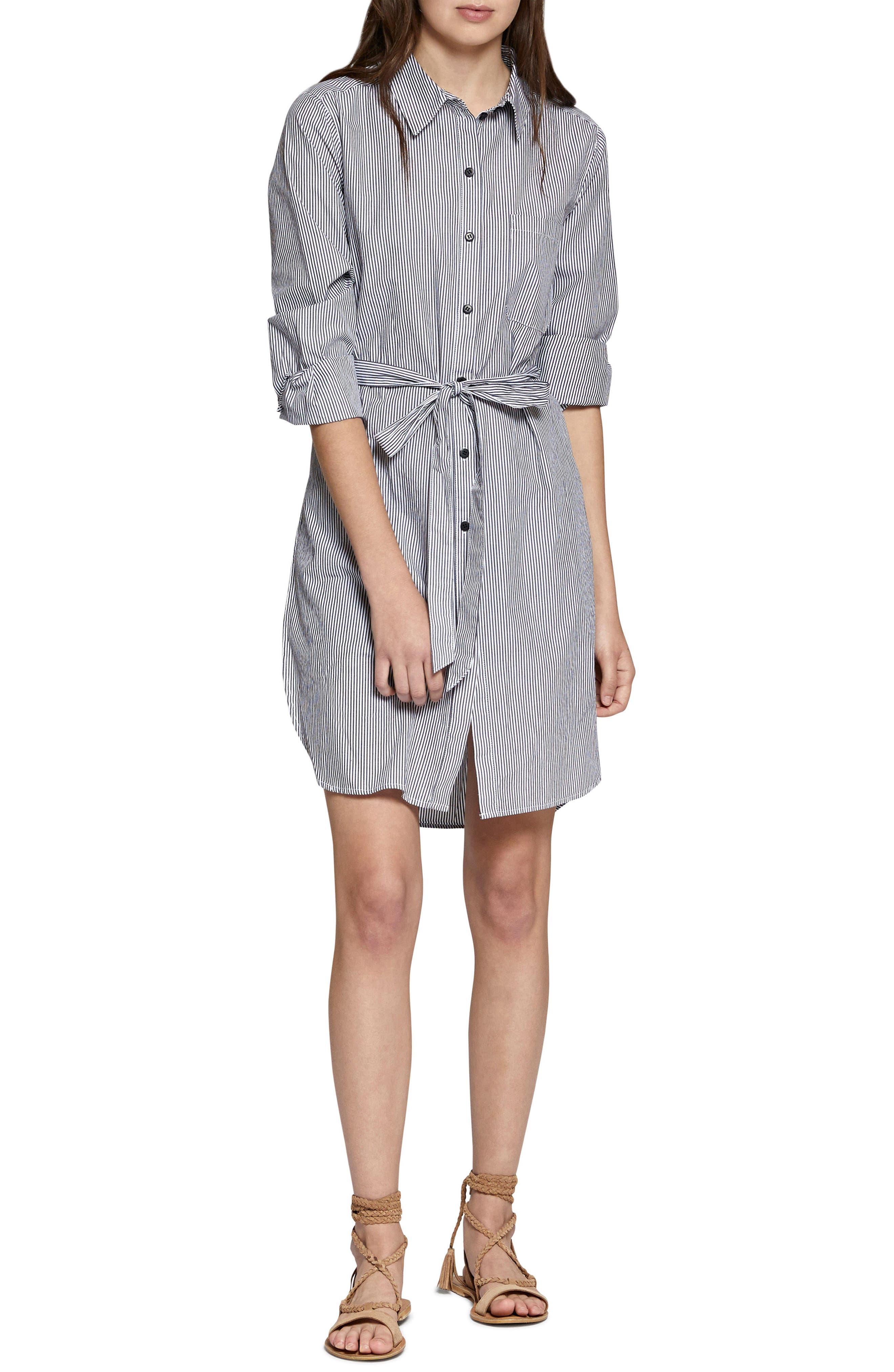 Taegan Stripe Tunic Shirt,                             Main thumbnail 1, color,                             Black/ White Stripe